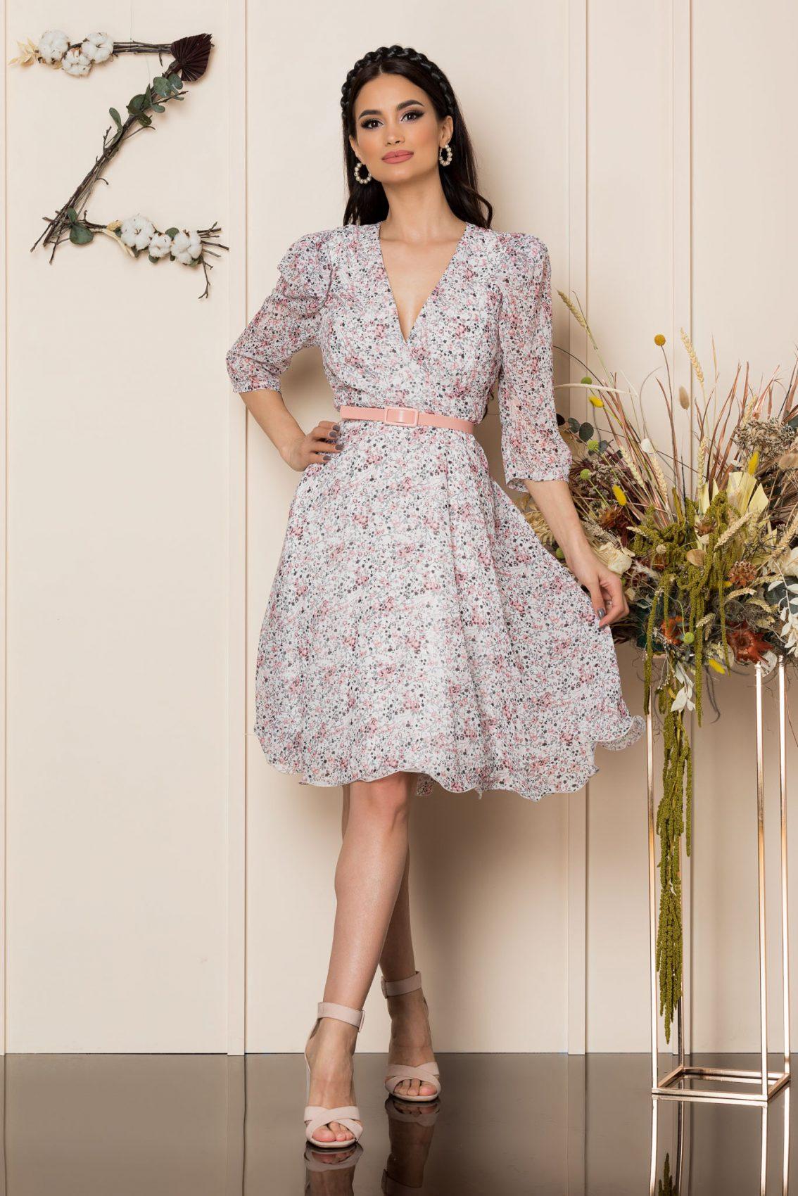 Φλοράλ Κρουαζέ Φόρεμα Με Ροζ Ζώνη Magda A254 3
