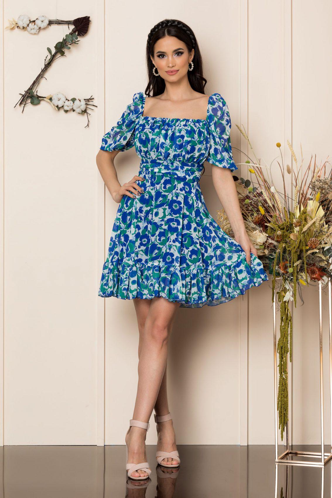 Μπλε Μίνι Αμπιγιέ Φόρεμα Essenia A229 1