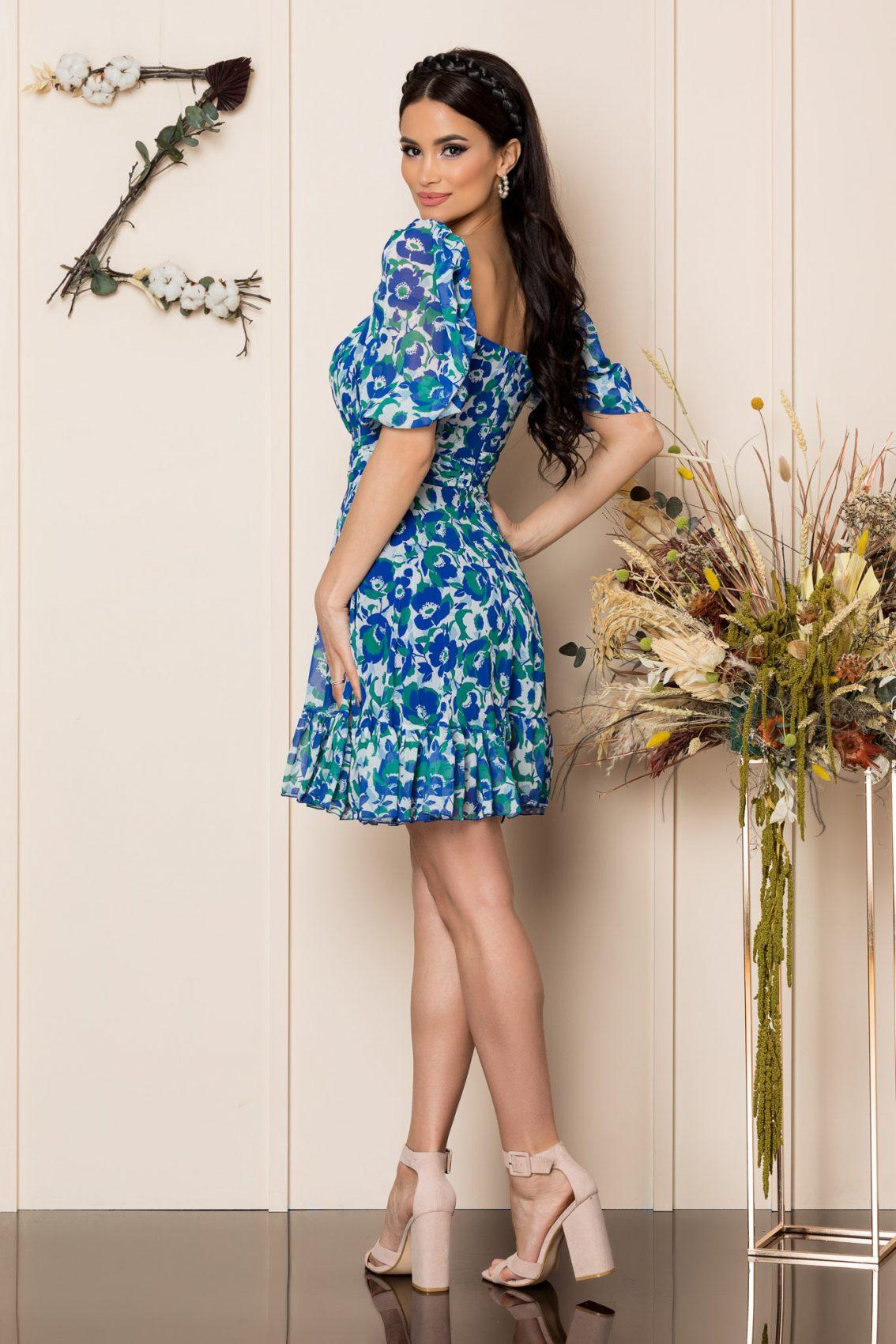 Μπλε Μίνι Αμπιγιέ Φόρεμα Essenia A229 2