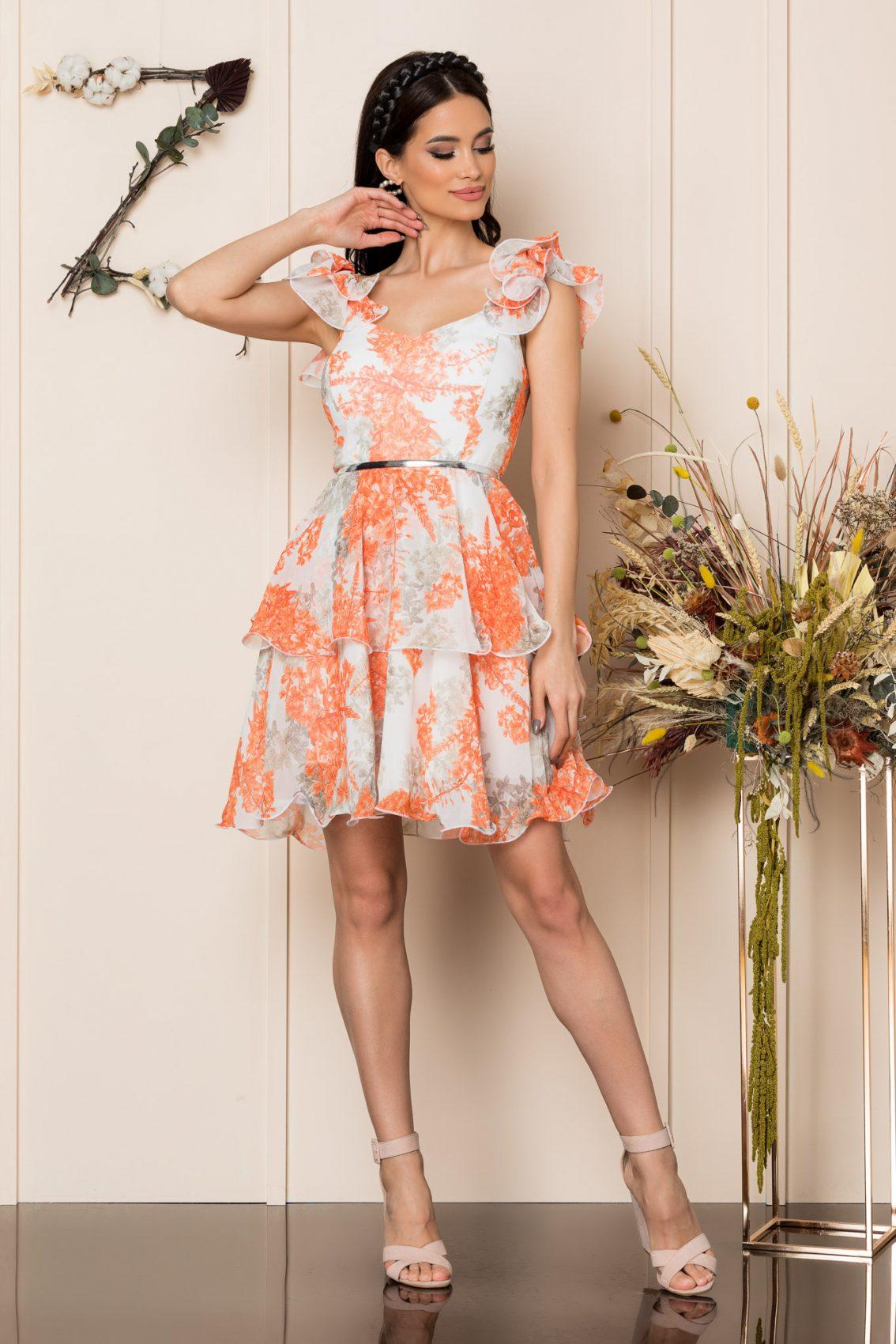 Πορτοκαλί Μίνι Αμπιγιέ Φόρεμα Aniko A234 1