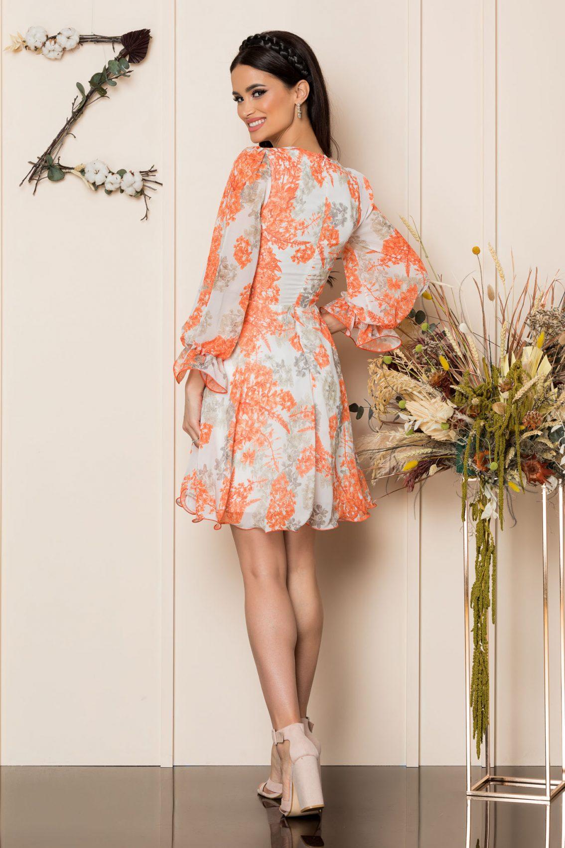 Πορτοκαλί Κρουαζέ Κλος Φόρεμα Simine A283 2
