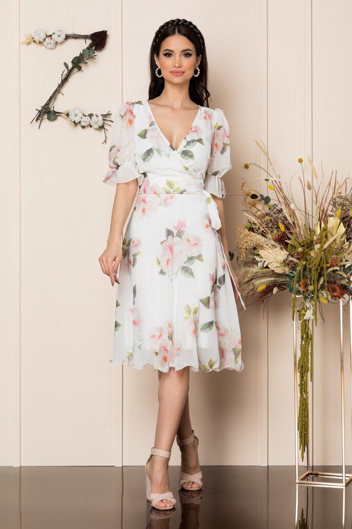 Λευκό Μίντι Φλοράλ Φόρεμα Hanelore A227 1