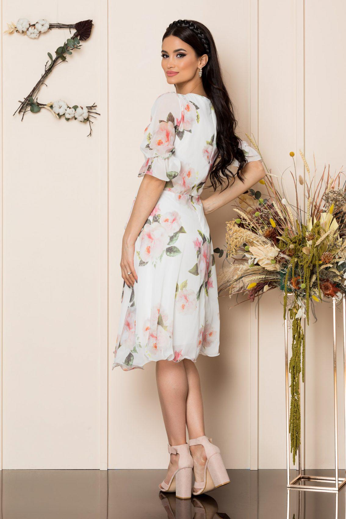 Λευκό Μίντι Φλοράλ Φόρεμα Hanelore A227 2