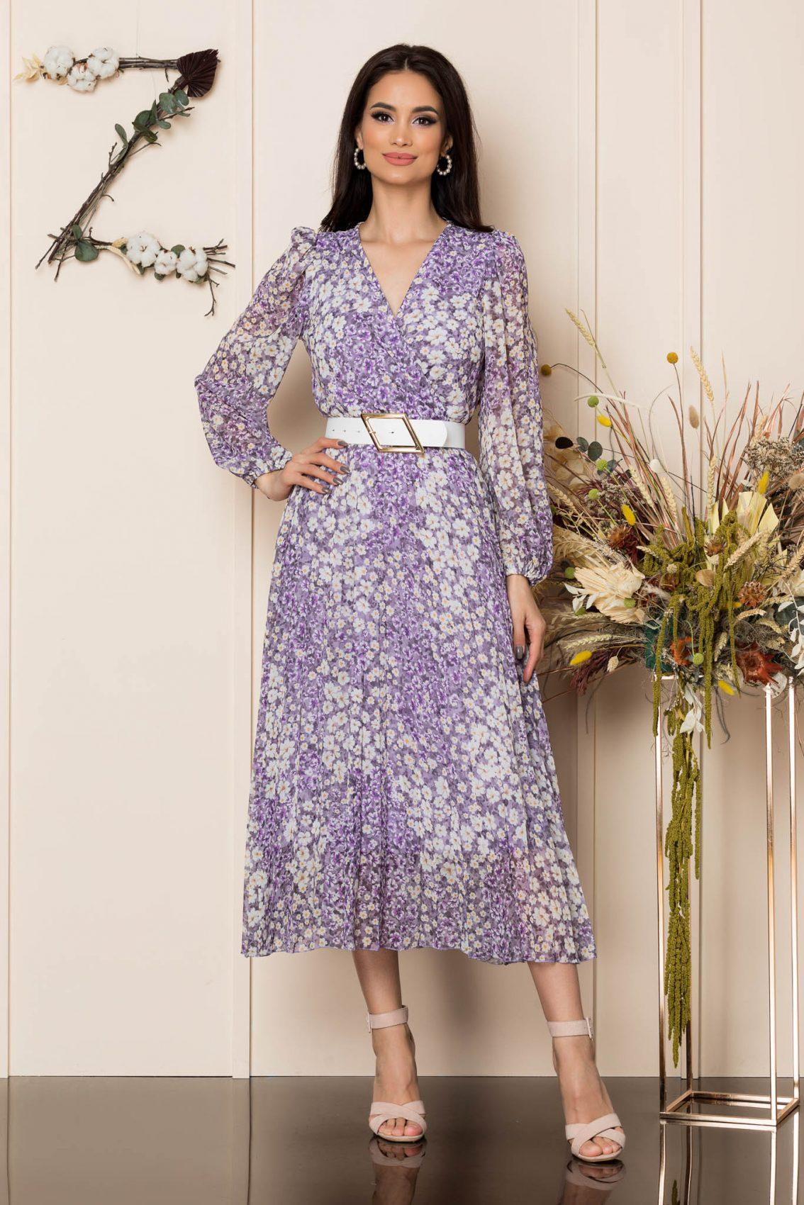 Λιλά Φλοράλ Πλισέ Φόρεμα Ingrid A272 1
