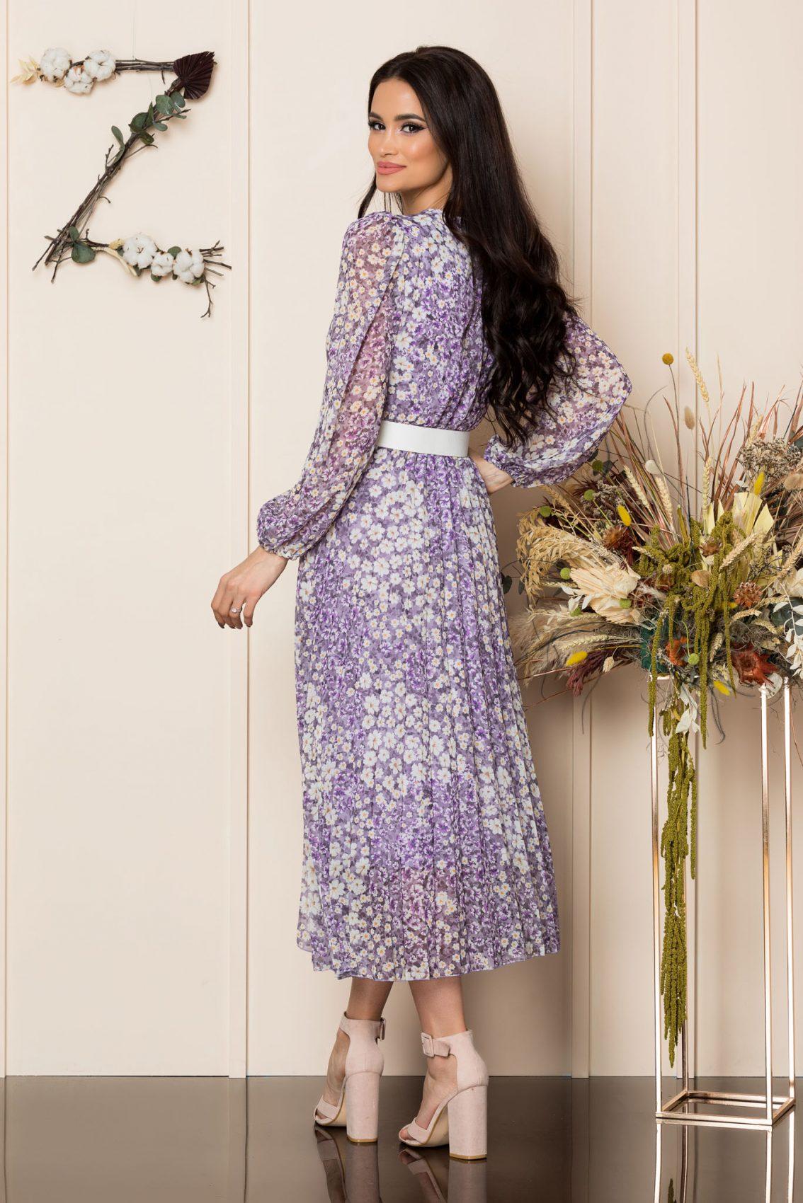 Λιλά Φλοράλ Πλισέ Φόρεμα Ingrid A272 2