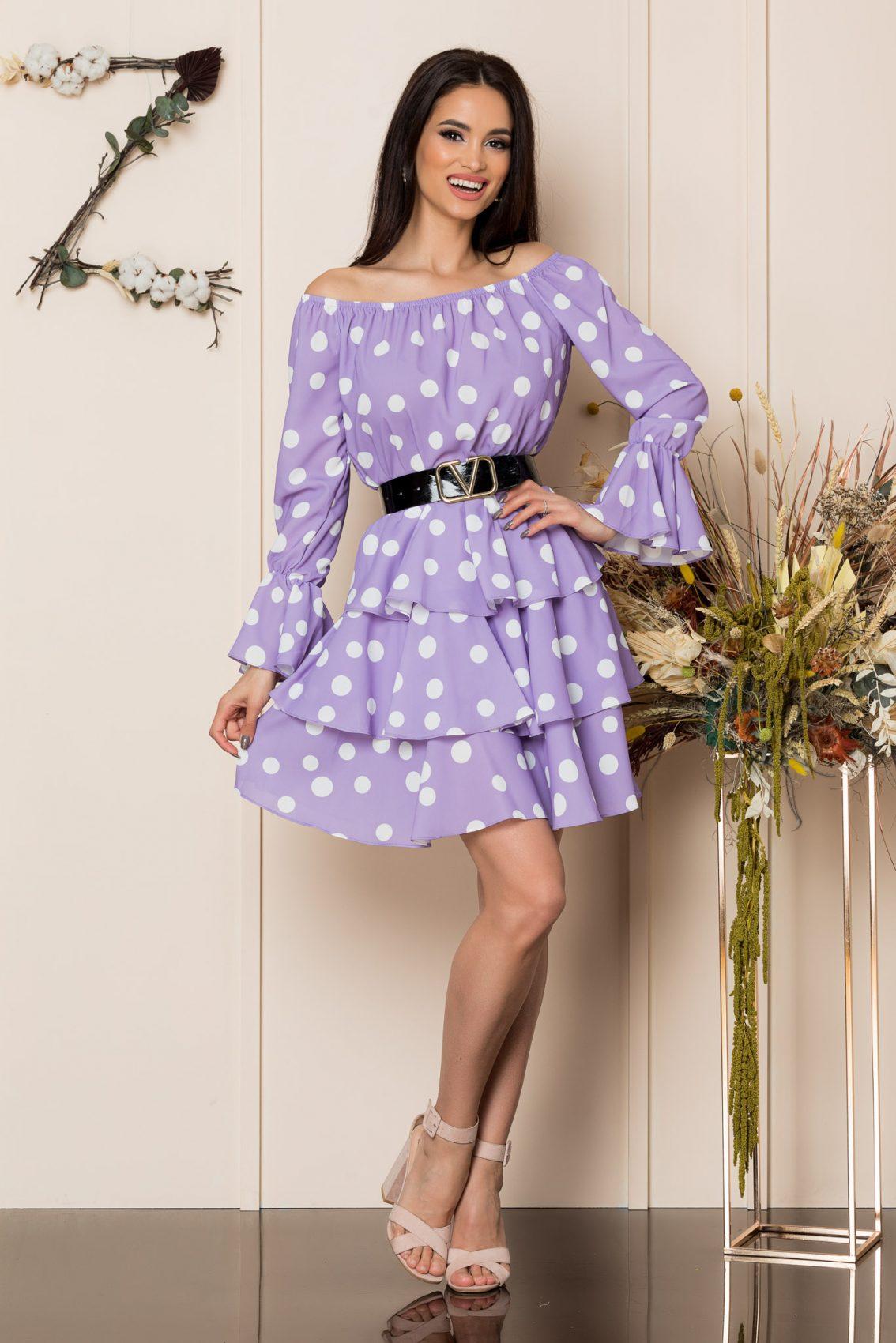 Λιλά Πουά Φόρεμα Με Βολάν Jodie A223 1