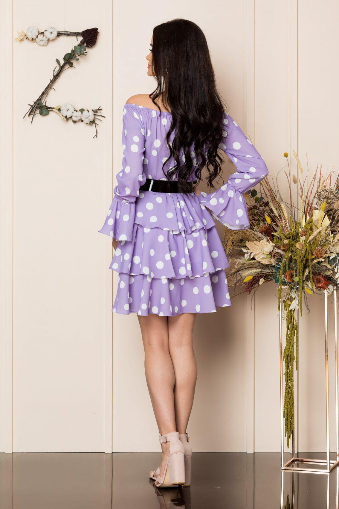 Λιλά Πουά Φόρεμα Με Βολάν Jodie A223 2