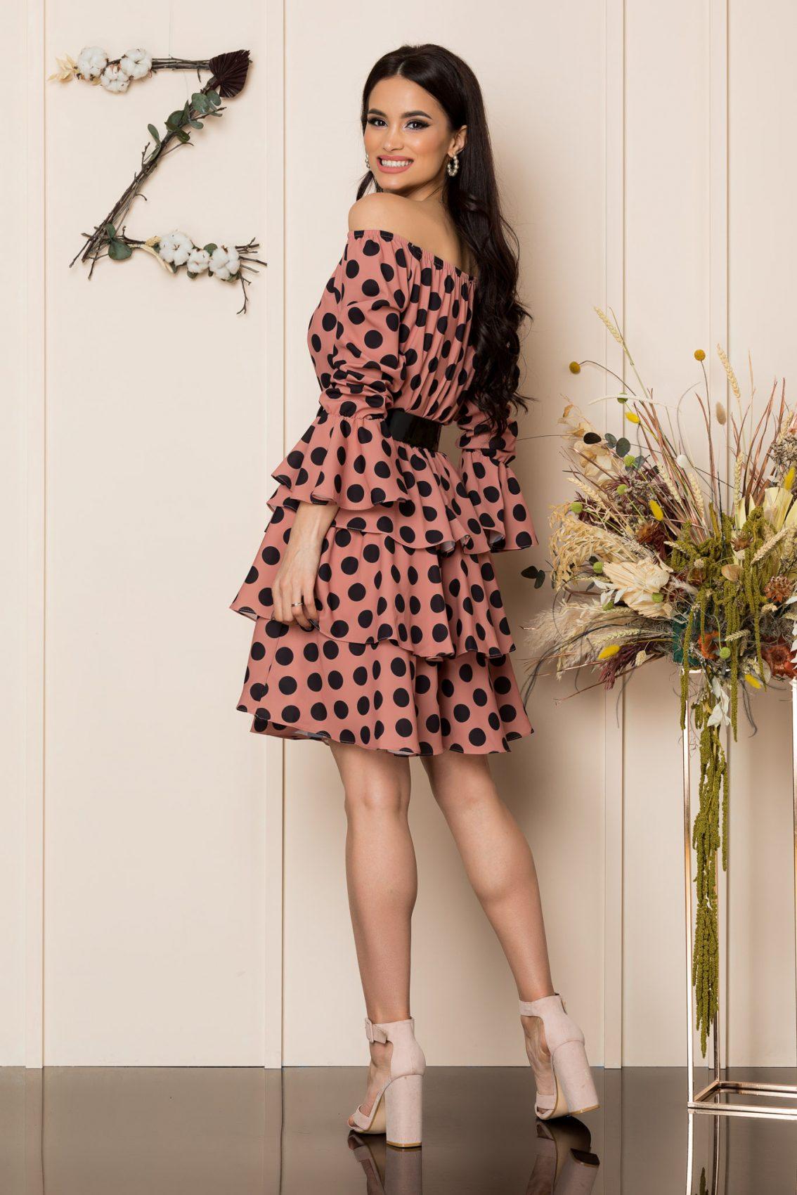 Καφέ Πουά Φόρεμα Με Βολάν Jodie A220 2