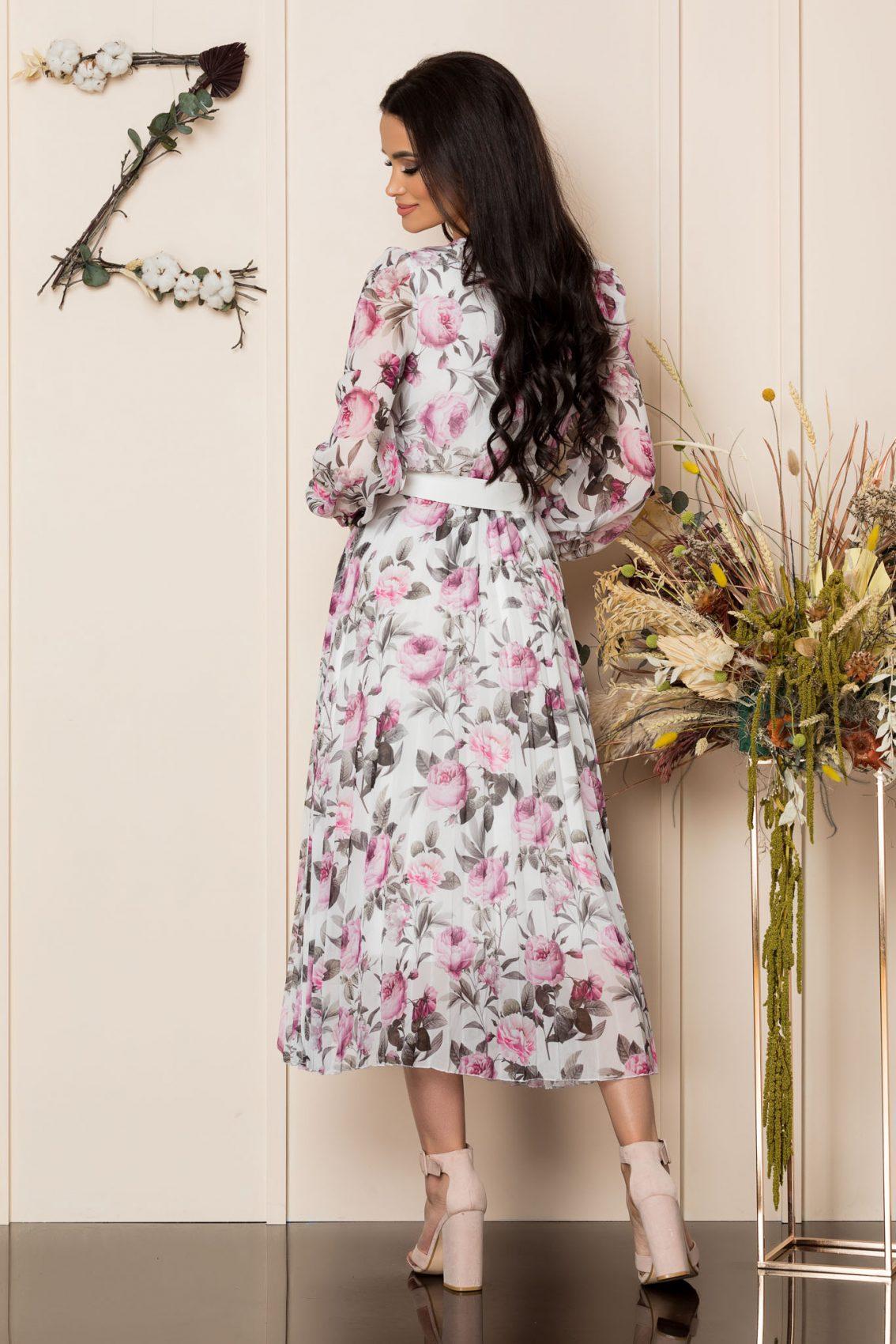 Φλοράλ Πλισέ Φόρεμα Με Ζώνη Ingrid A267 2