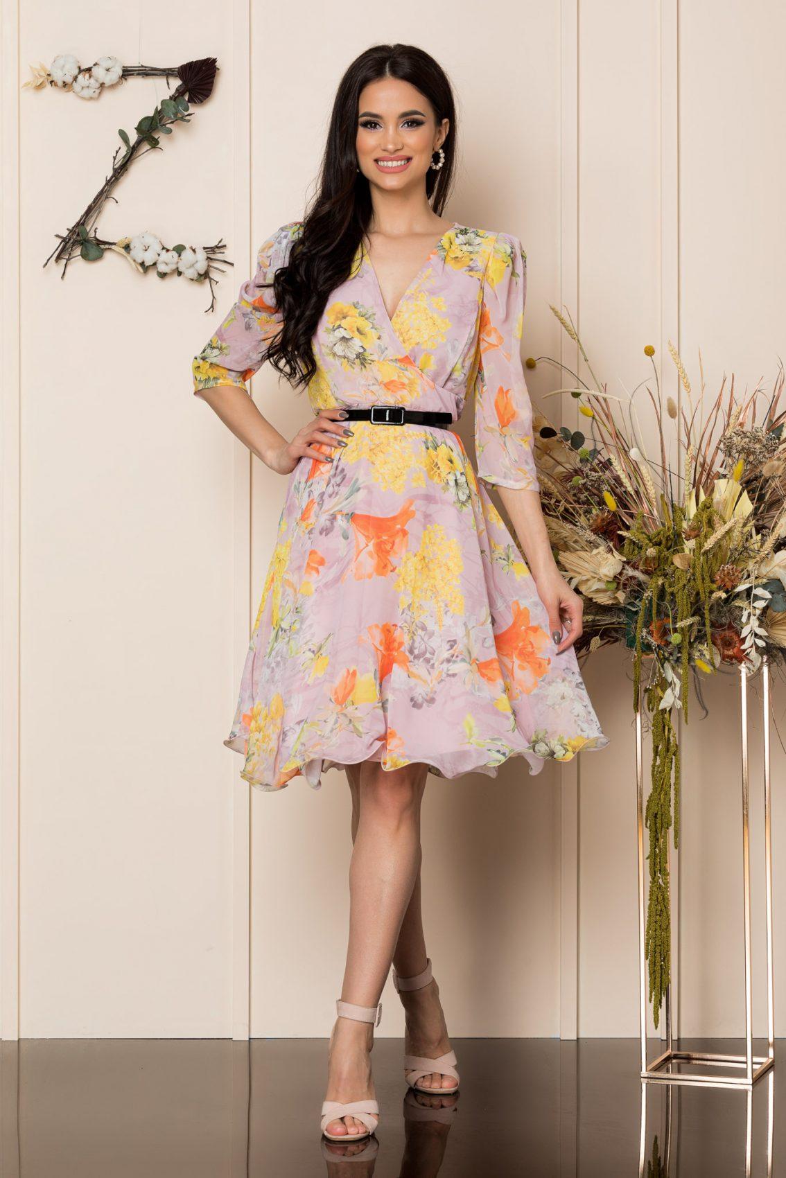 Κίτρινο Φλοράλ Κρουαζέ Φόρεμα Magda A256 3