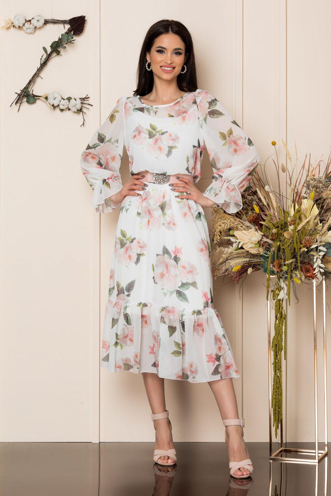 Λευκό Φλοράλ Μίντι Φόρεμα Melanie A260 1