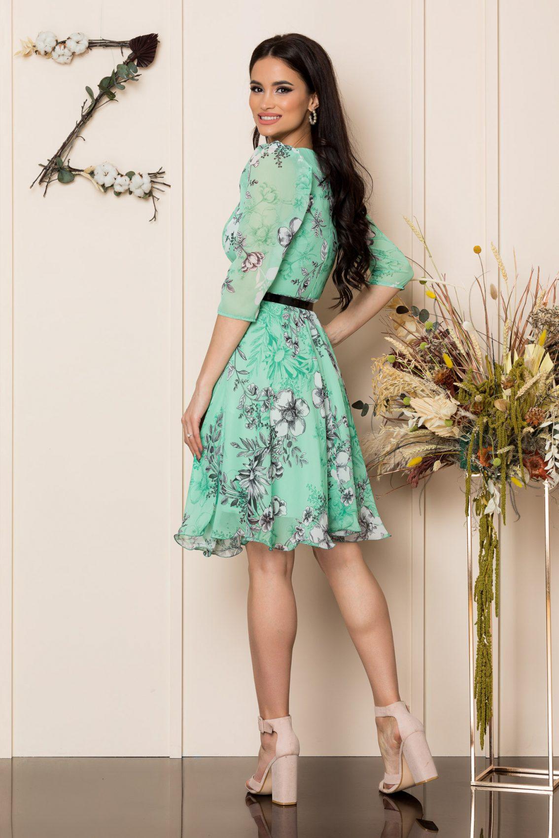 Πράσινο Φλοράλ Κρουαζέ Φόρεμα Magda A246 2
