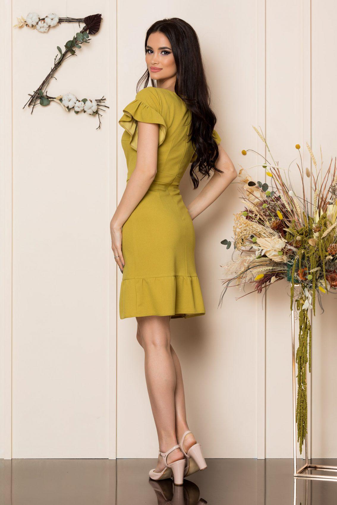 Μουσταρδί Κοντομάνικο Φόρεμα Με Βολάν Felice A201 2