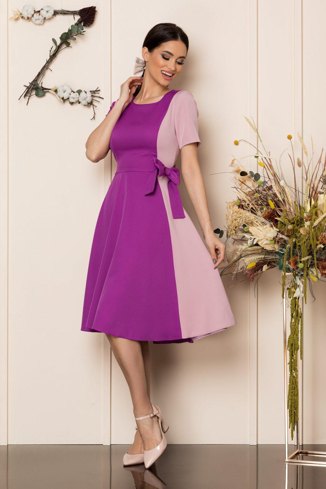 Βιολετί Μίντι Κλος Φόρεμα Hazel A211 1