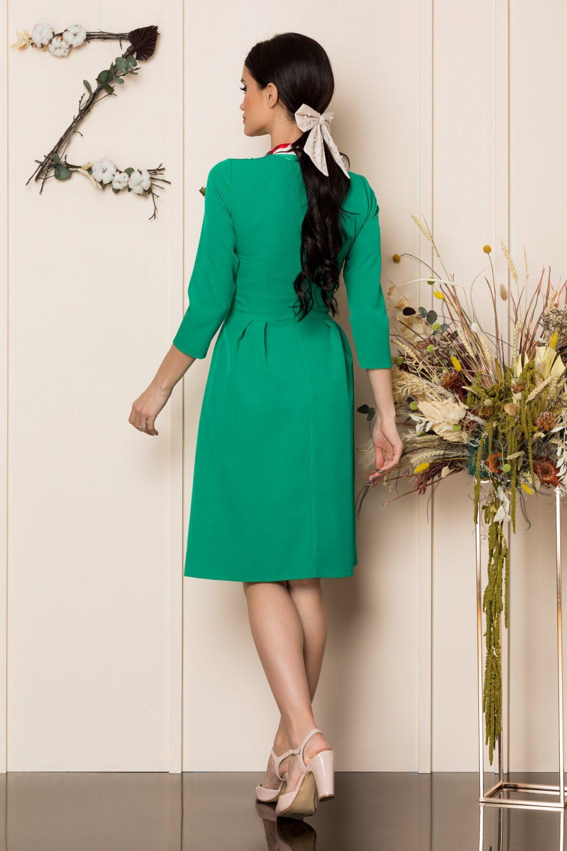 Πράσινο Μίντι Φόρεμα Vicky A213 2