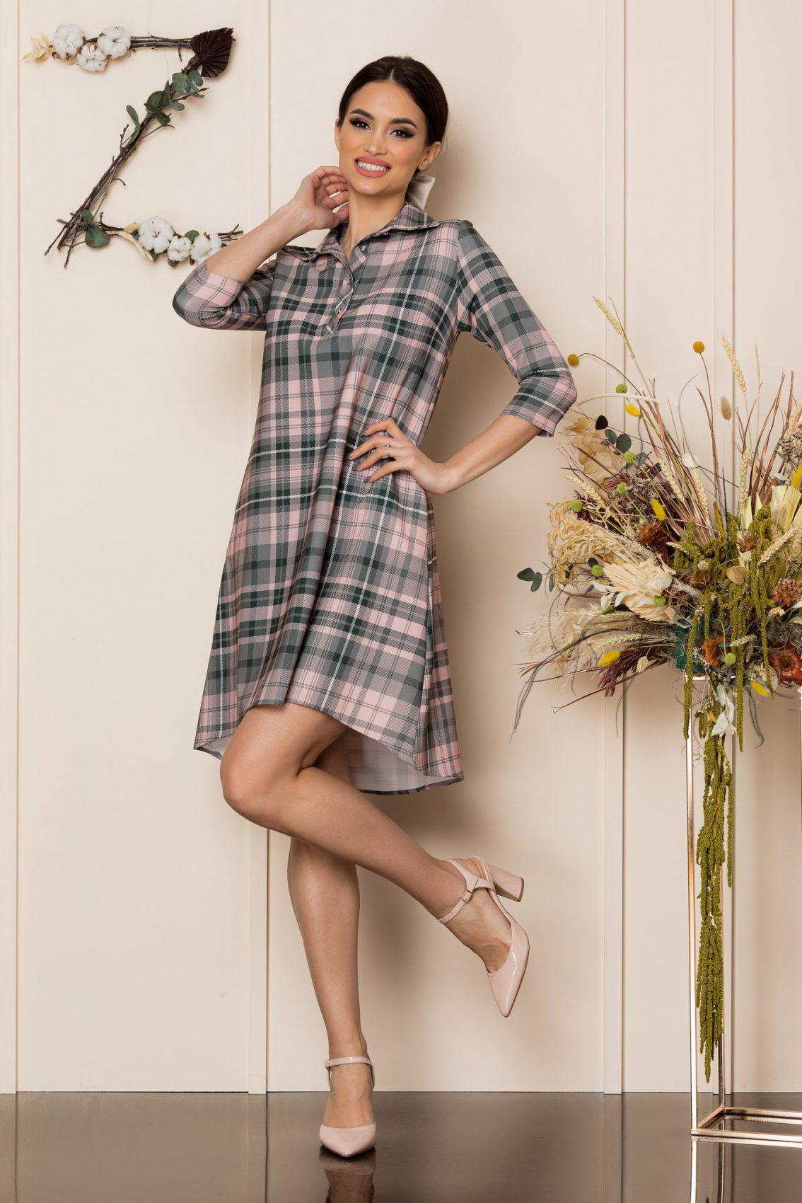 Γκρι Καρό Ασύμμετρο Φόρεμα Fiore 9386 1