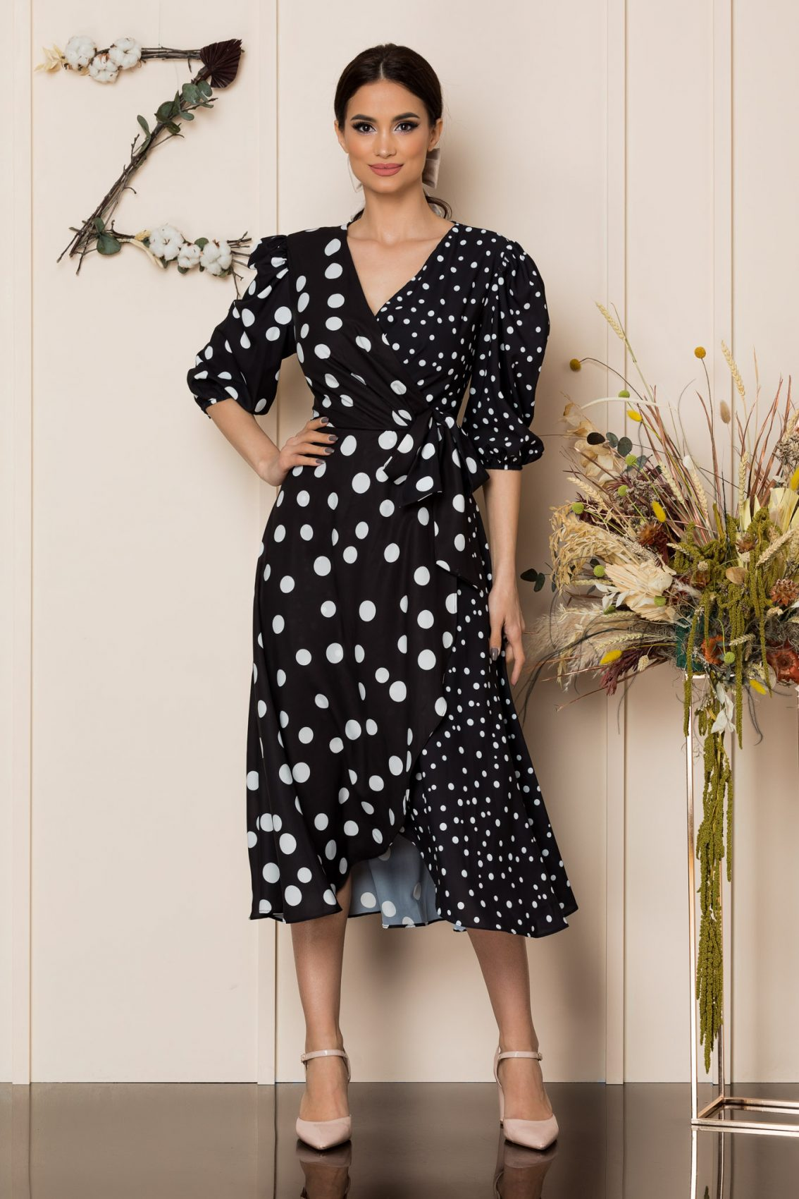 Μαύρο Πουά Μίντι Κρουαζέ Φόρεμα Merra A238 1