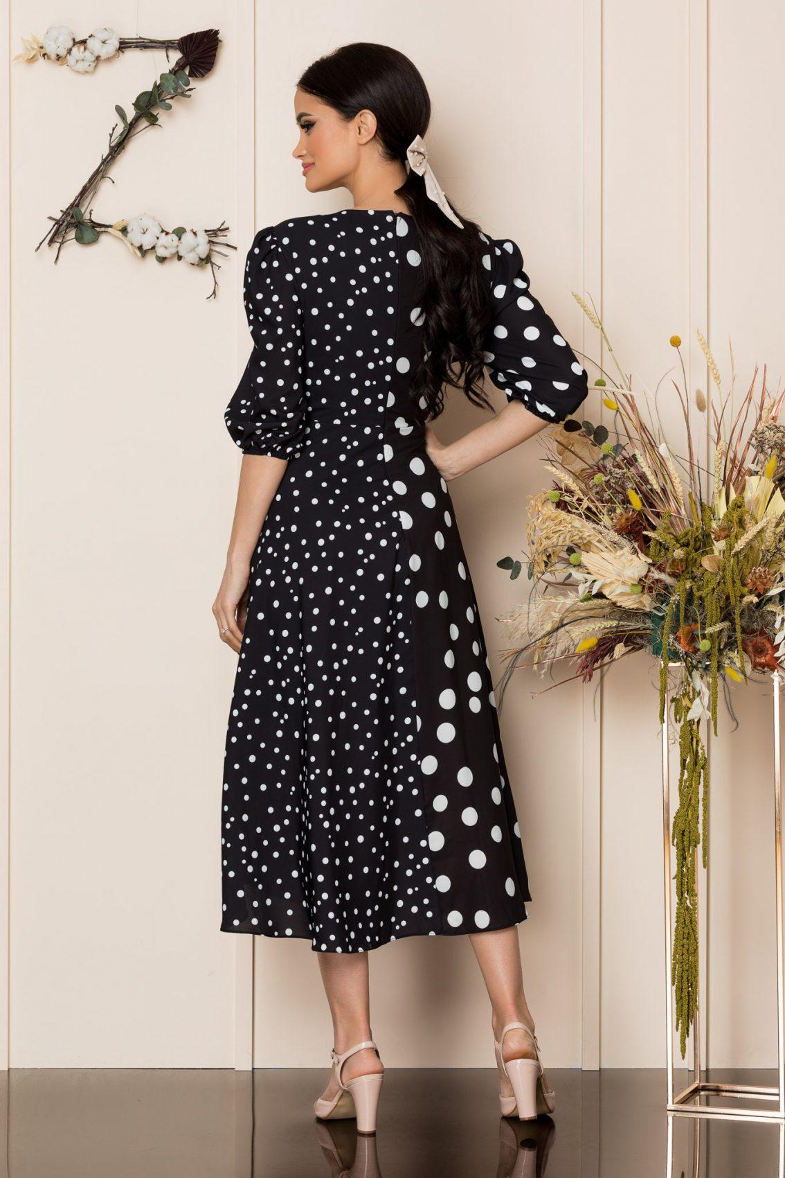 Μαύρο Πουά Μίντι Κρουαζέ Φόρεμα Merra A238 2