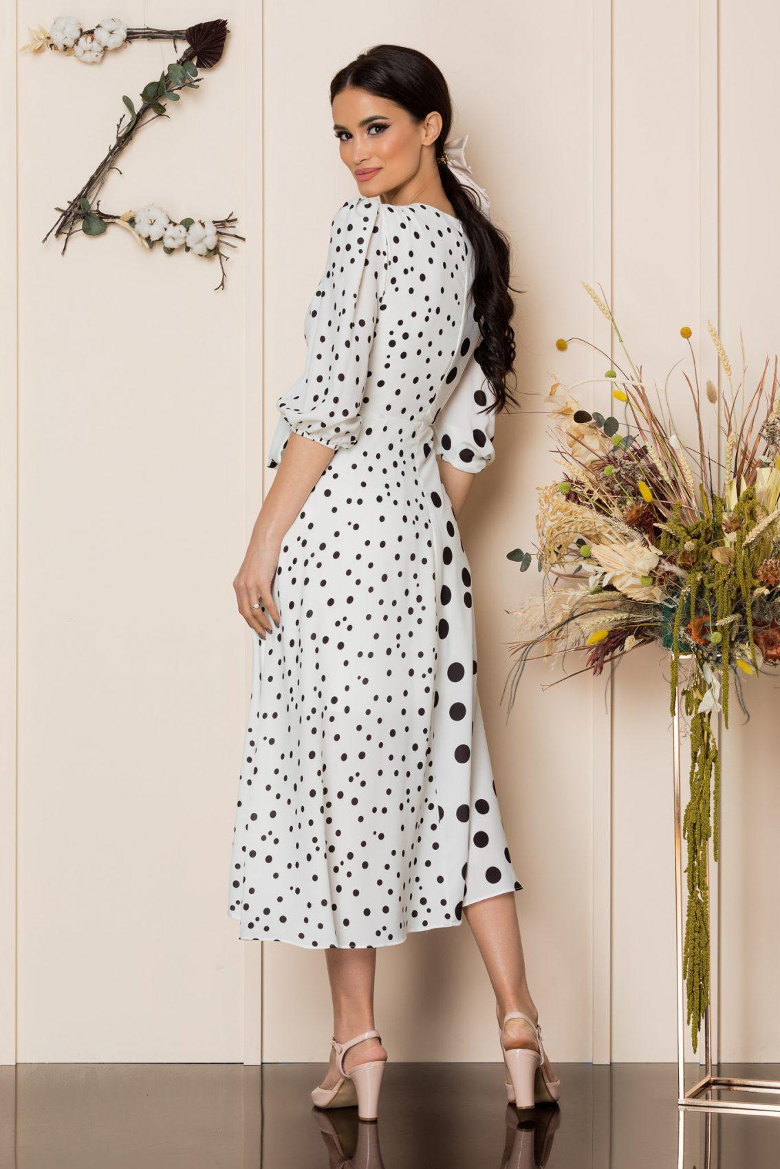 Λευκό Πουά Μίντι Κρουαζέ Φόρεμα Merra A237 2
