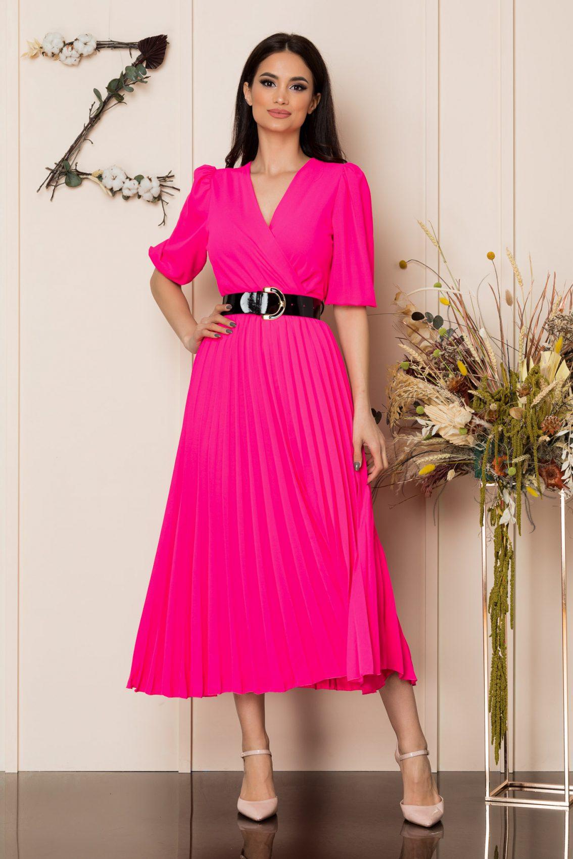 Φούξια Μίντι Κρουαζέ Φόρεμα Cryna A217 1