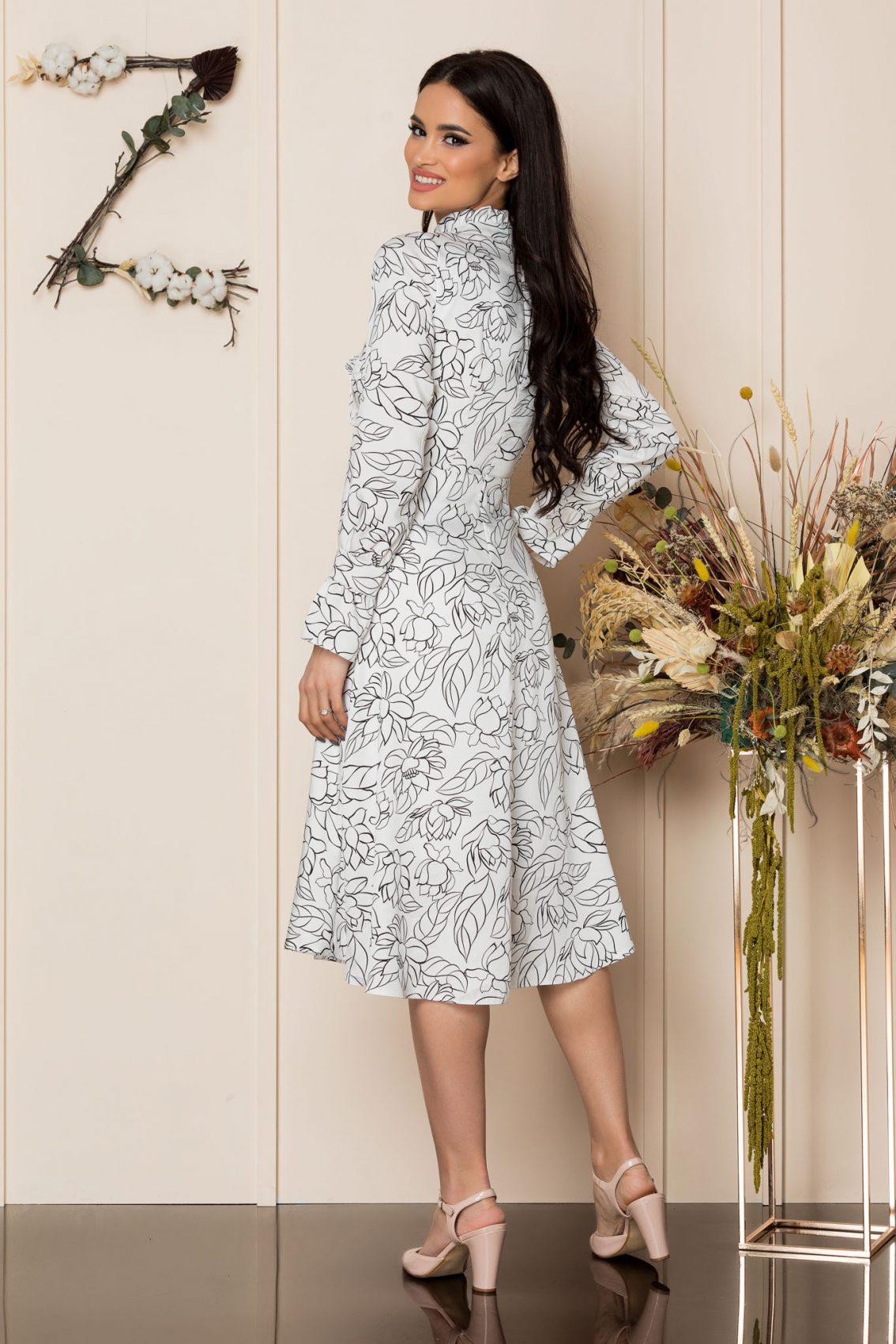 Λευκό Μίντι Μακρυμάνικο Φόρεμα Ashley A204 2