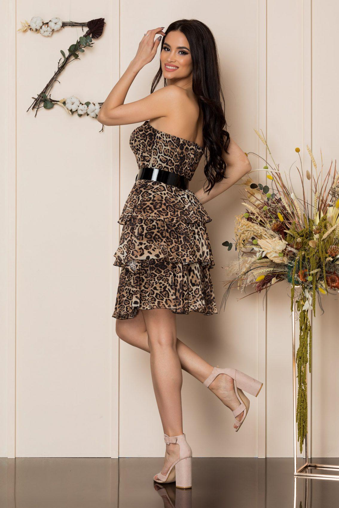 Λεοπάρ Στράπλες Βραδινό Φόρεμα Anda A225 2