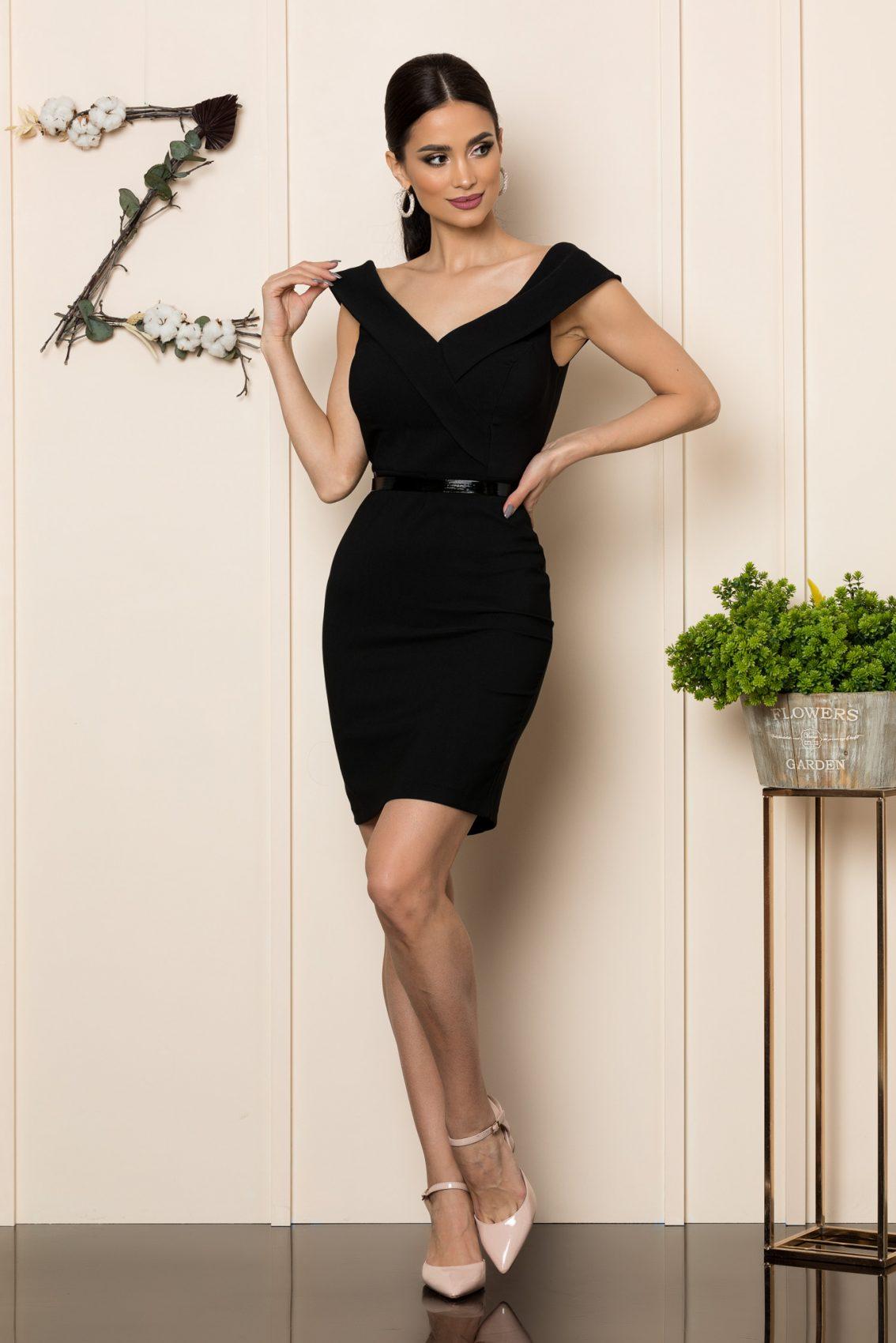 Μαύρο Φόρεμα Σε Εφαρμοστή Γραμμή Edwina 7851 1