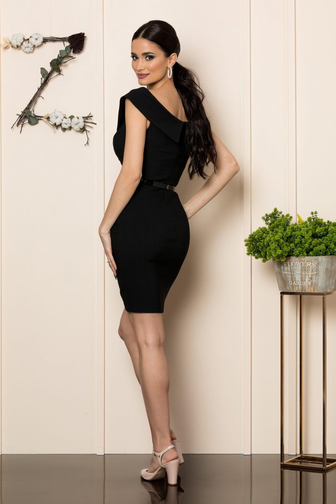 Μαύρο Φόρεμα Σε Εφαρμοστή Γραμμή Edwina 7851 2
