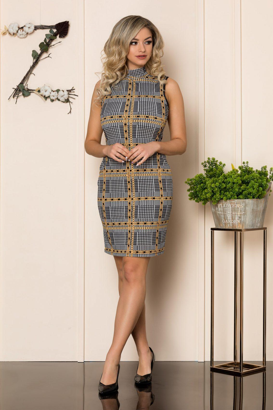 Αμάνικο Μίνι Εμπριμέ Φόρεμα Tamya 1014 1