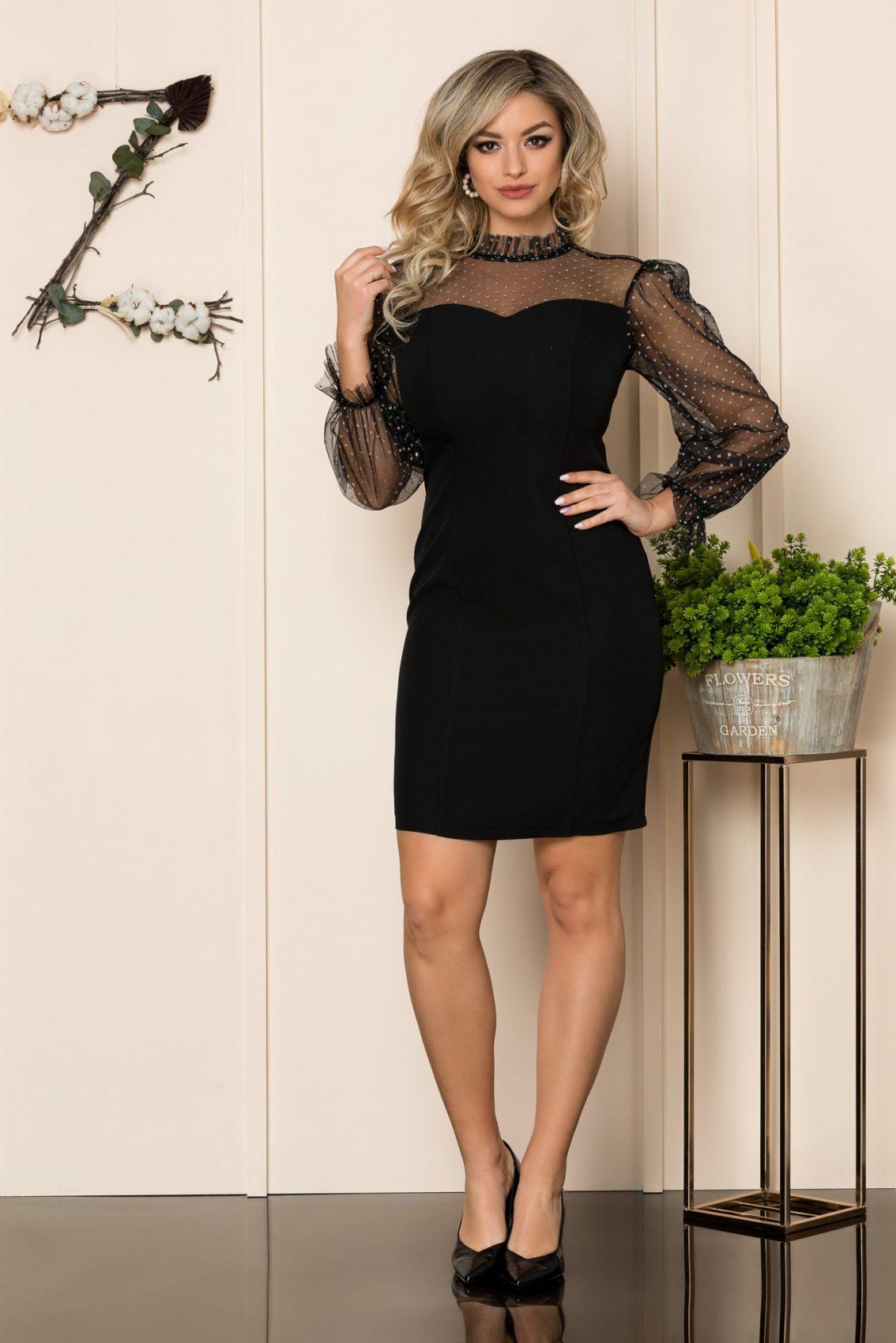Μαύρο Μίνι Αμπιγιέ Φόρεμα Lorine 1072 1