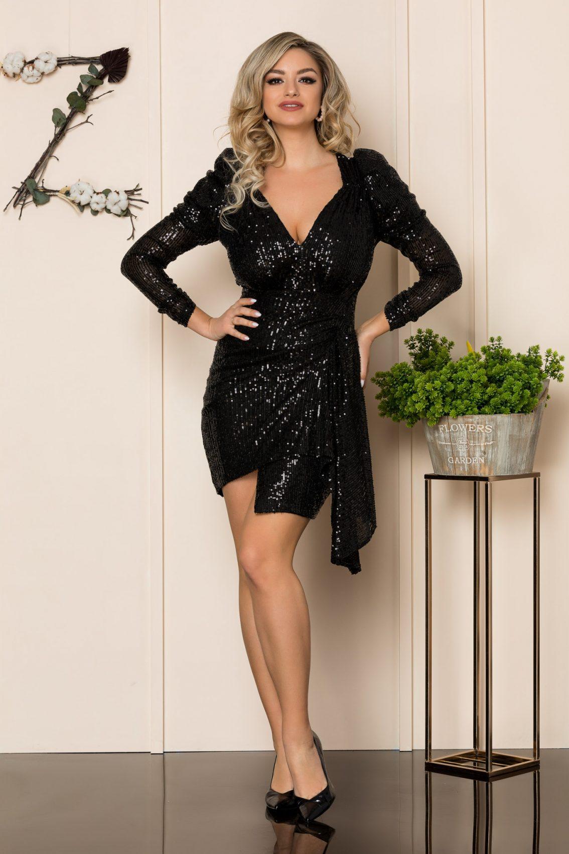 Μαύρο Μίνι Αμπιγιέ Φόρεμα Delores 1024 1