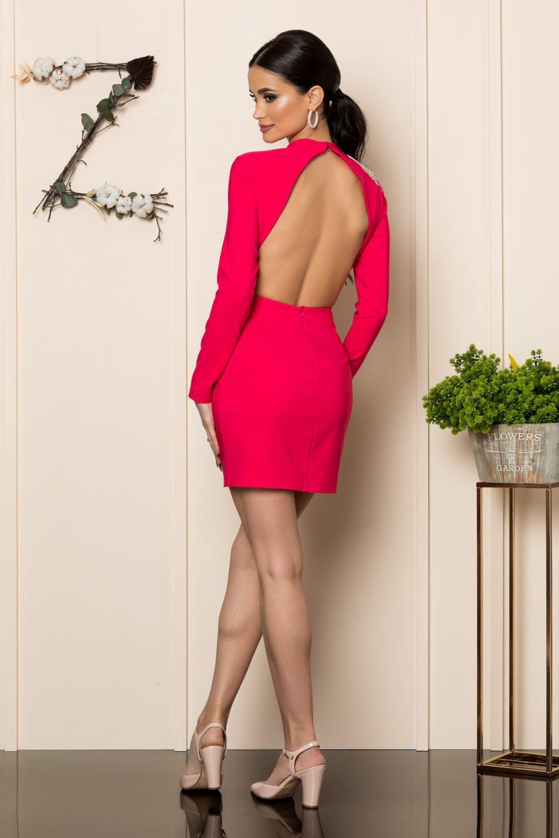Φούξια Μίνι Εξώπλατο Φόρεμα Misty 1084 1
