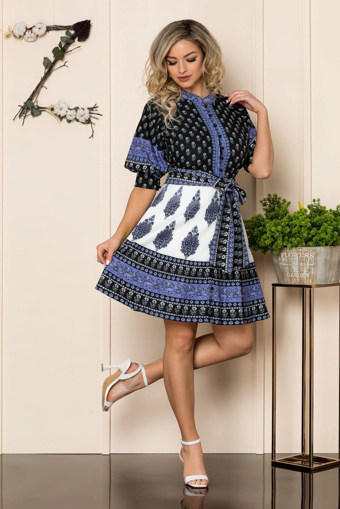 Φόρεμα Με Φουσκωτά Μανίκια Μωβ Janett 1019 1