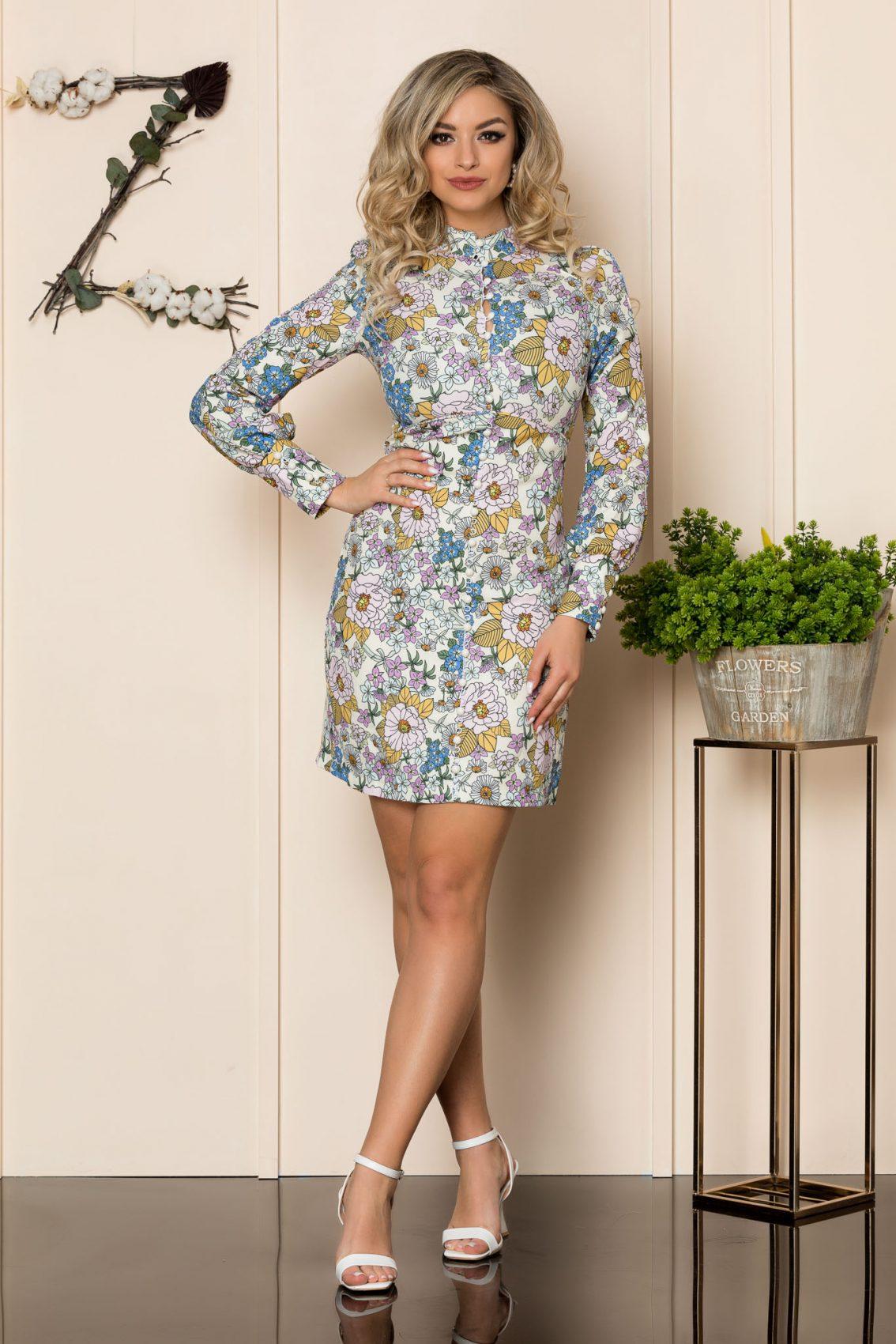 Εκρού Φλοράλ Φόρεμα Με Κουμπιά Beverly 1012 1