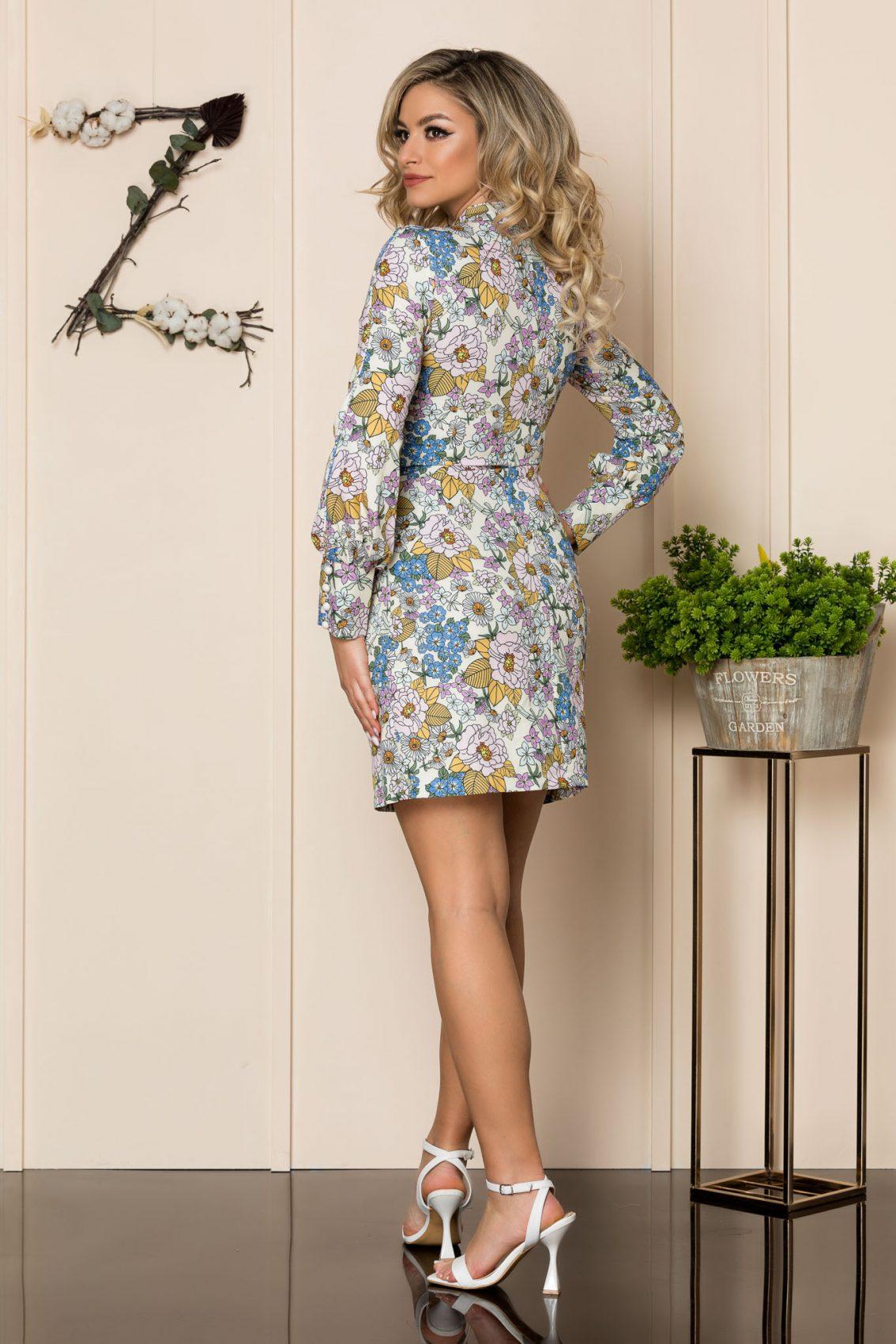 Εκρού Φλοράλ Φόρεμα Με Κουμπιά Beverly 1012 2
