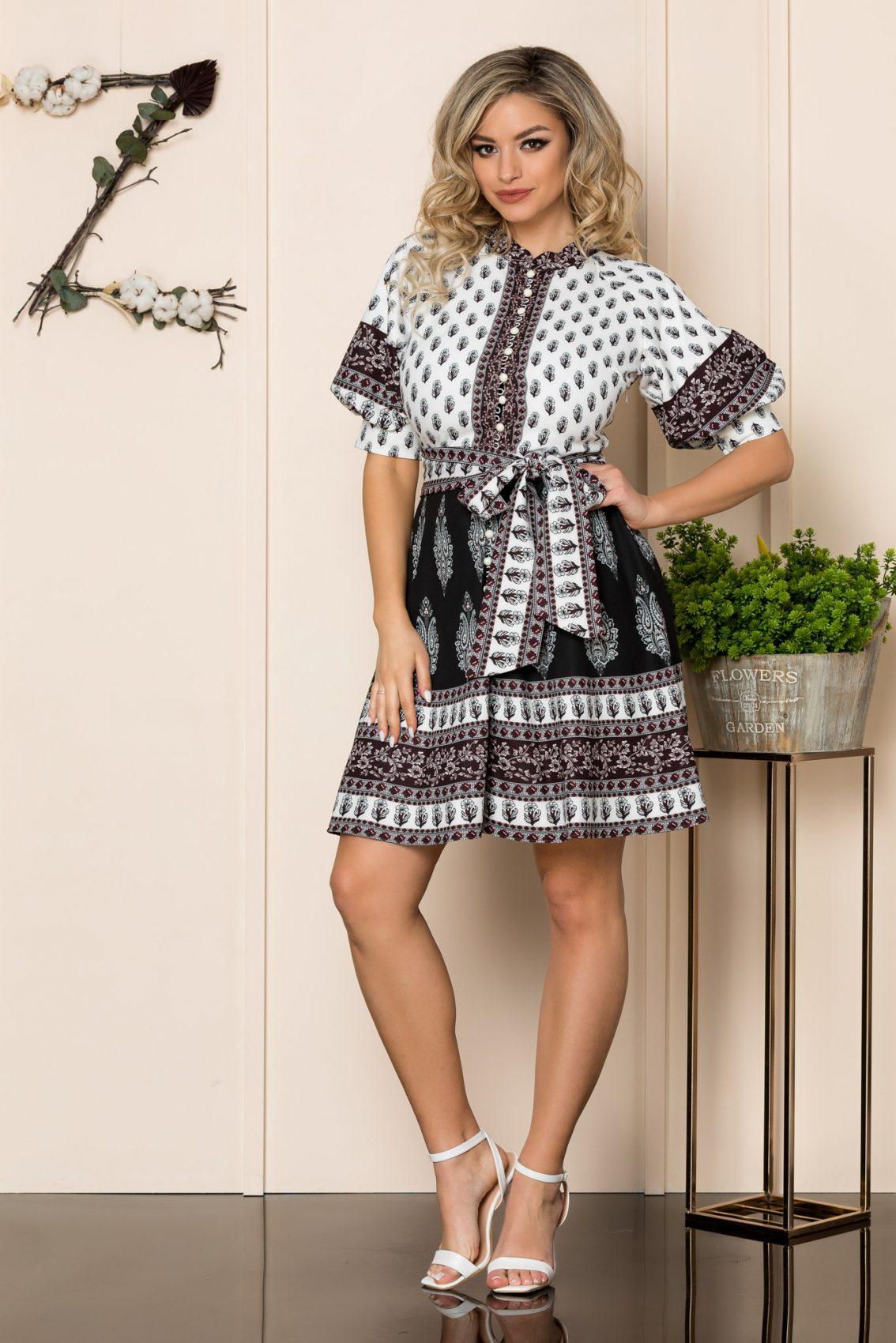 Φόρεμα Με Φουσκωτά Μανίκια Μαύρο Janett 1018 1