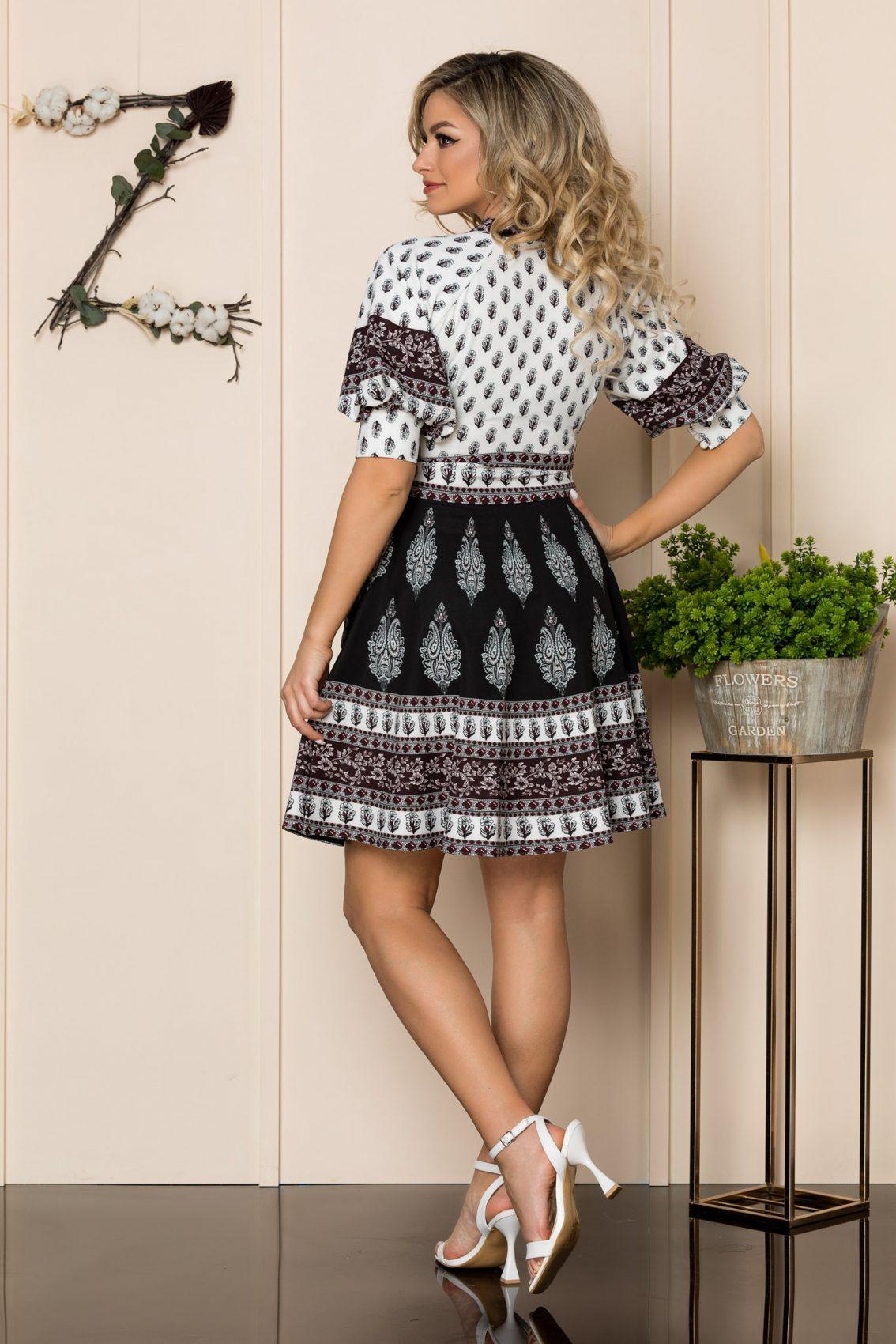 Φόρεμα Με Φουσκωτά Μανίκια Μαύρο Janett 1018 2