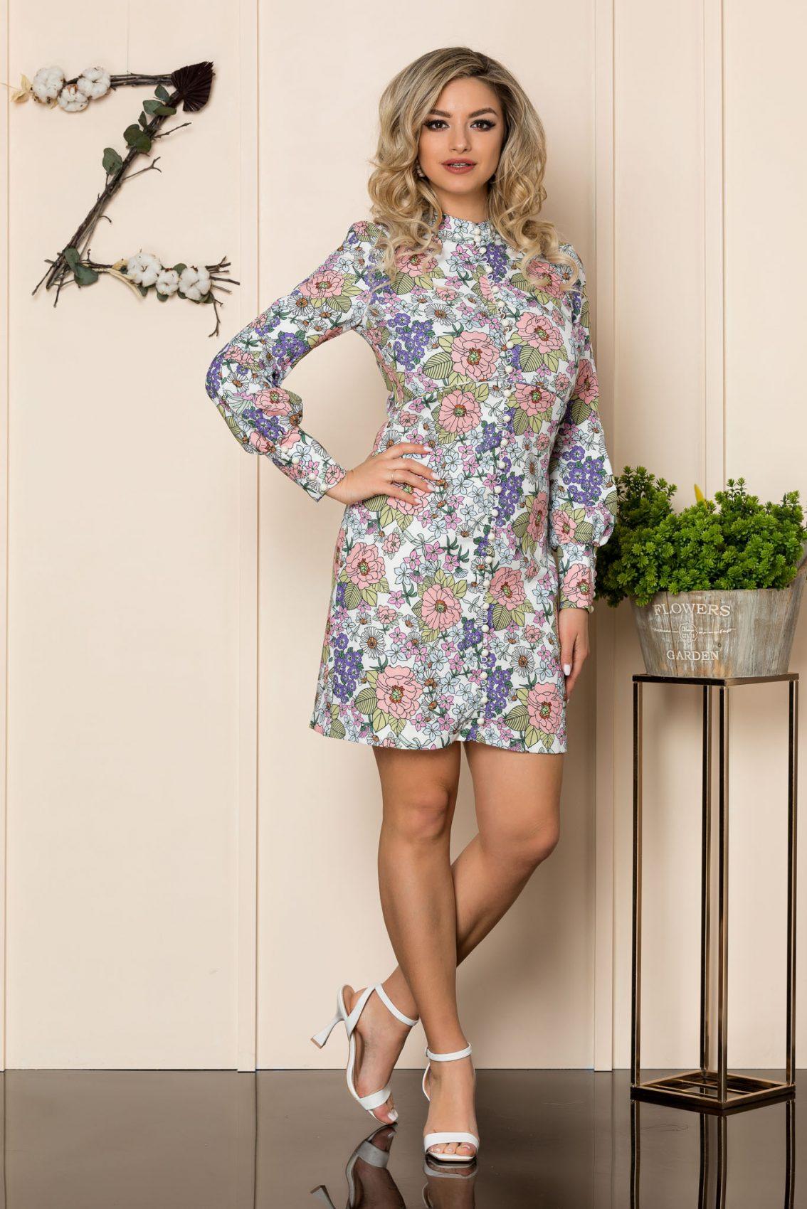 Εμπριμέ Φόρεμα Με Κουμπιά Beverly 1013 1
