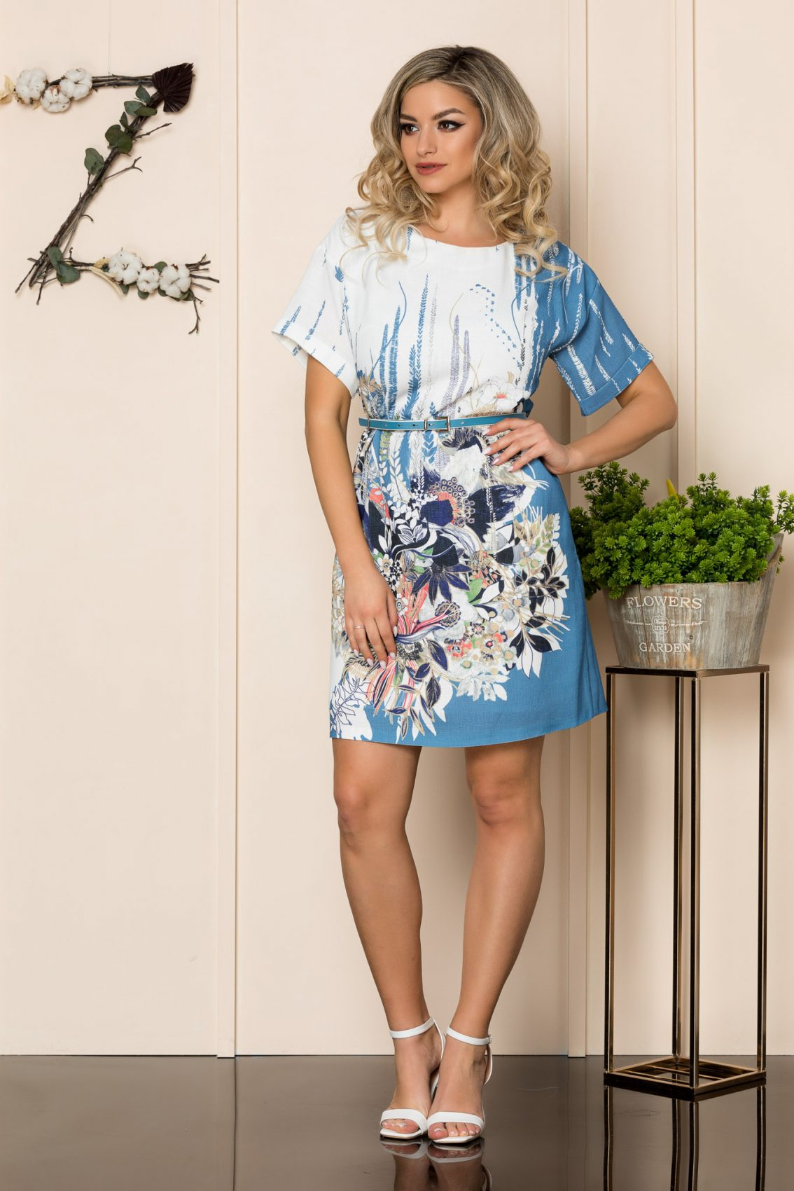 Μπλε Εμπριμέ Φόρεμα Nelya 1061 1