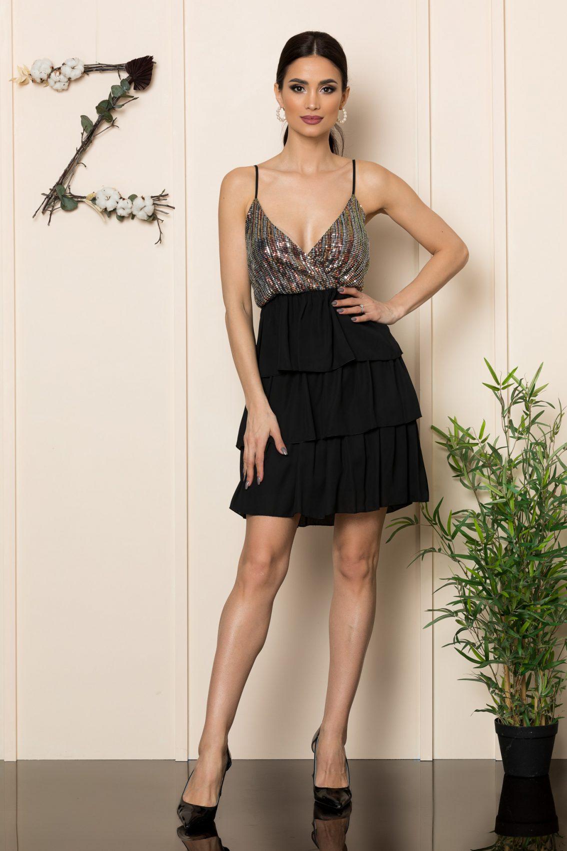 Μαύρο Φόρεμα Με Βολάν Rumba 1097 1