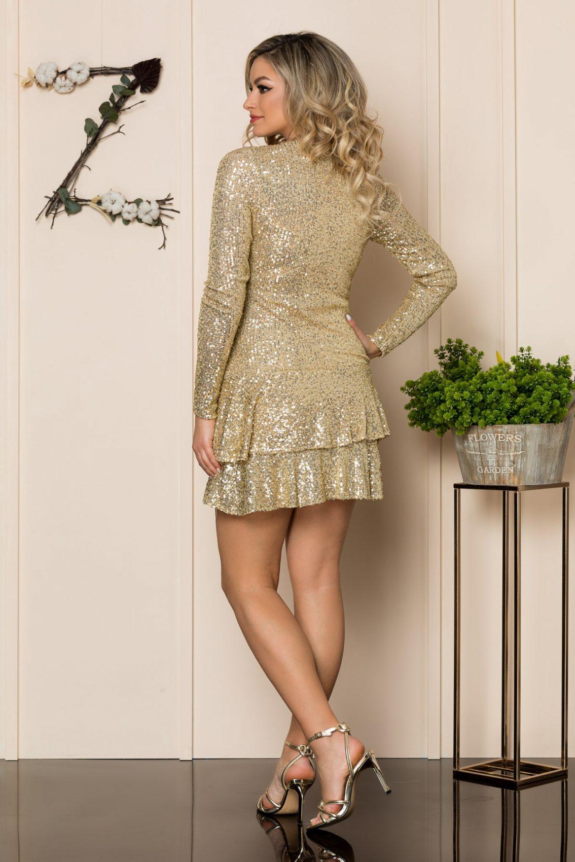 Χρυσό Μίνι Αμπιγιέ Φόρεμα Frida 1020 2