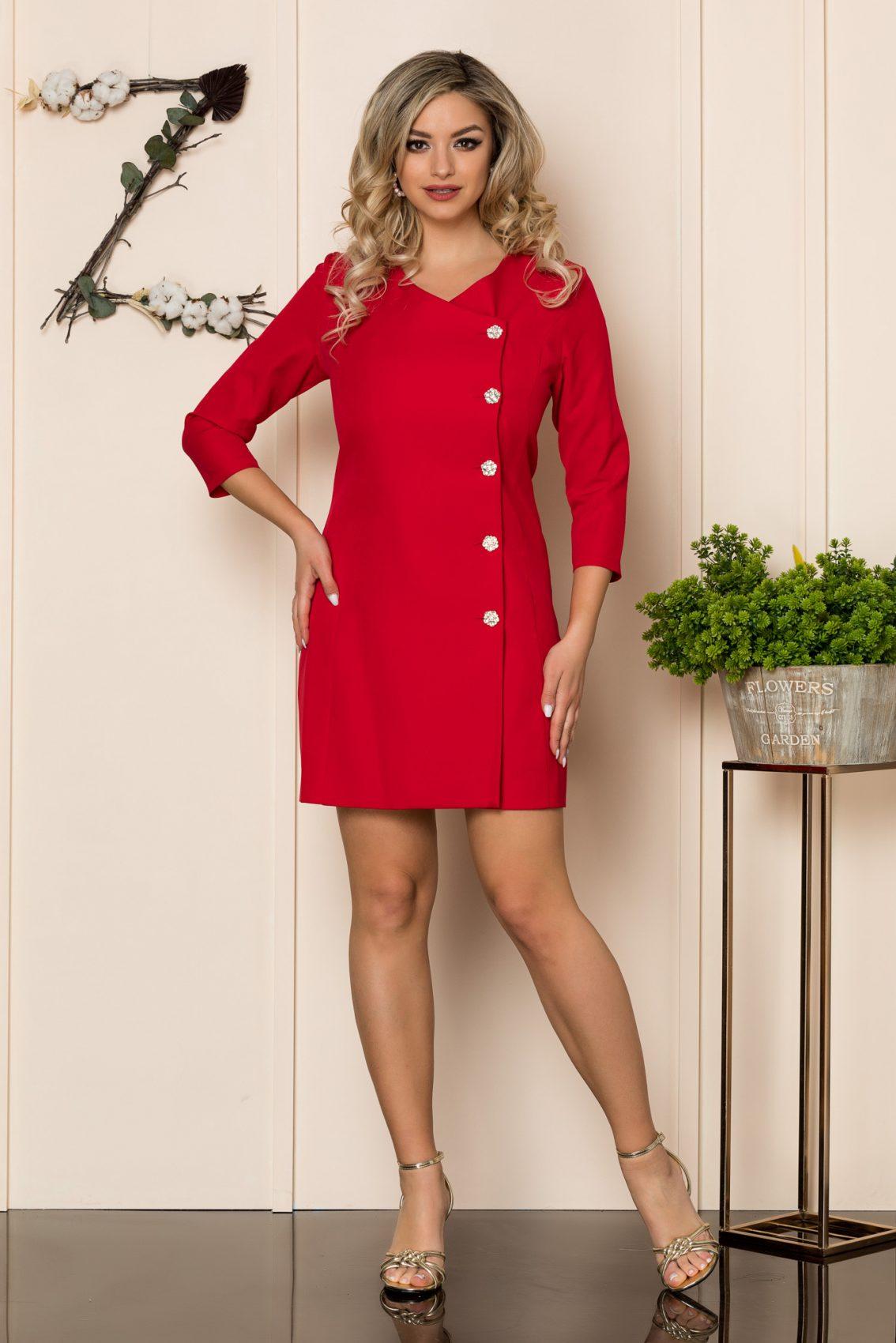 Κόκκινο Φόρεμα Με Στράς Κουμπιά Savanna 1043 1