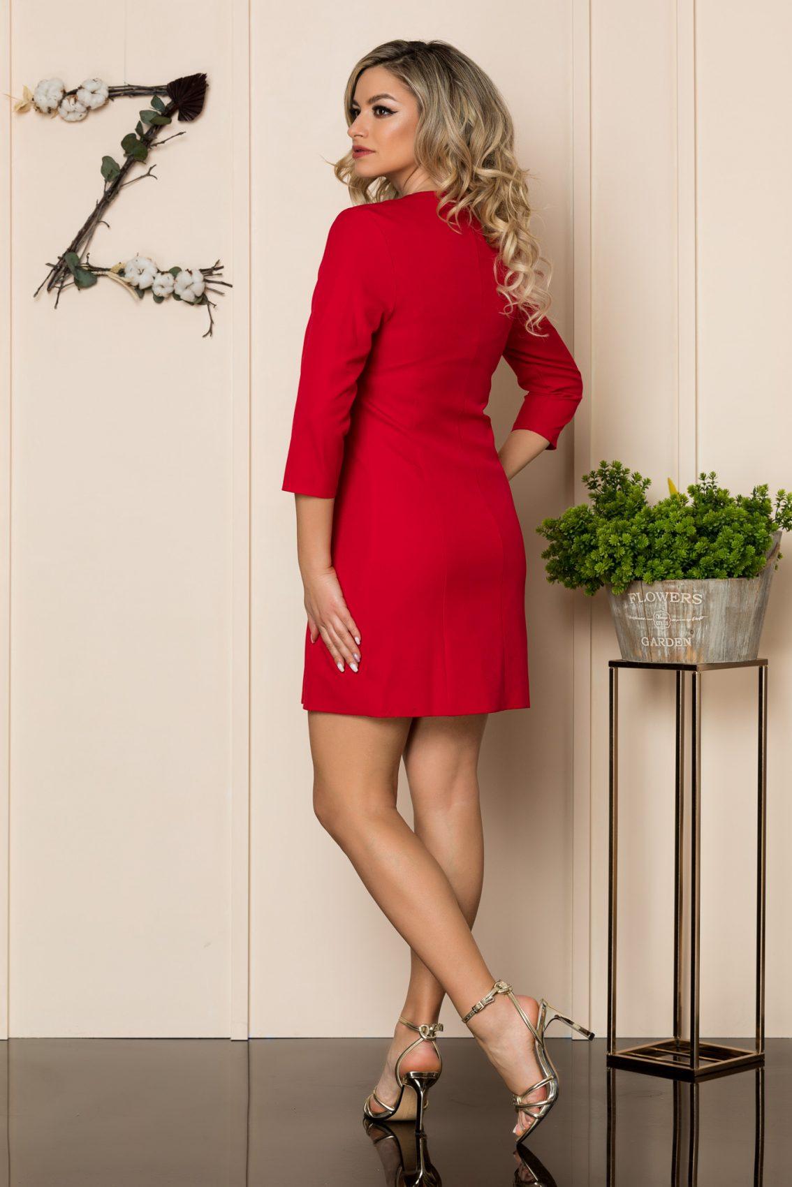 Κόκκινο Φόρεμα Με Στράς Κουμπιά Savanna 1043 2