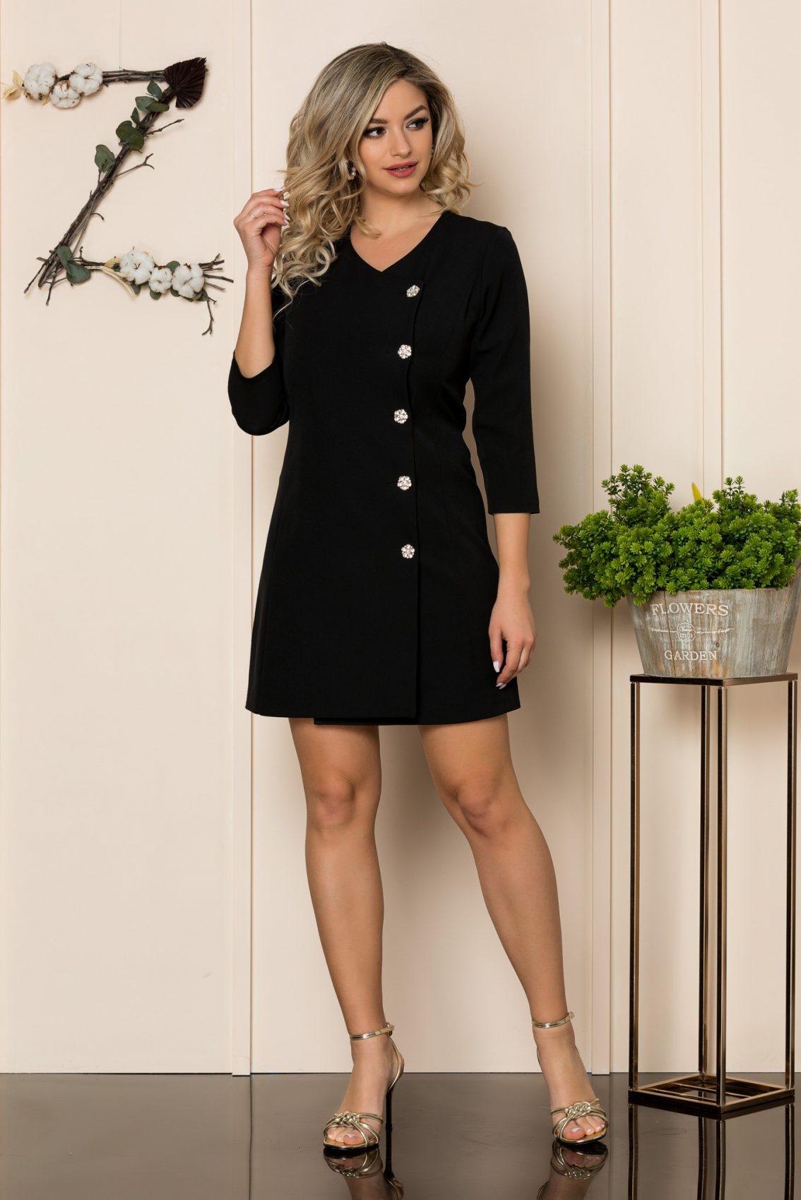 Μαύρο Φόρεμα Με Στράς Κουμπιά Savanna 1044 1