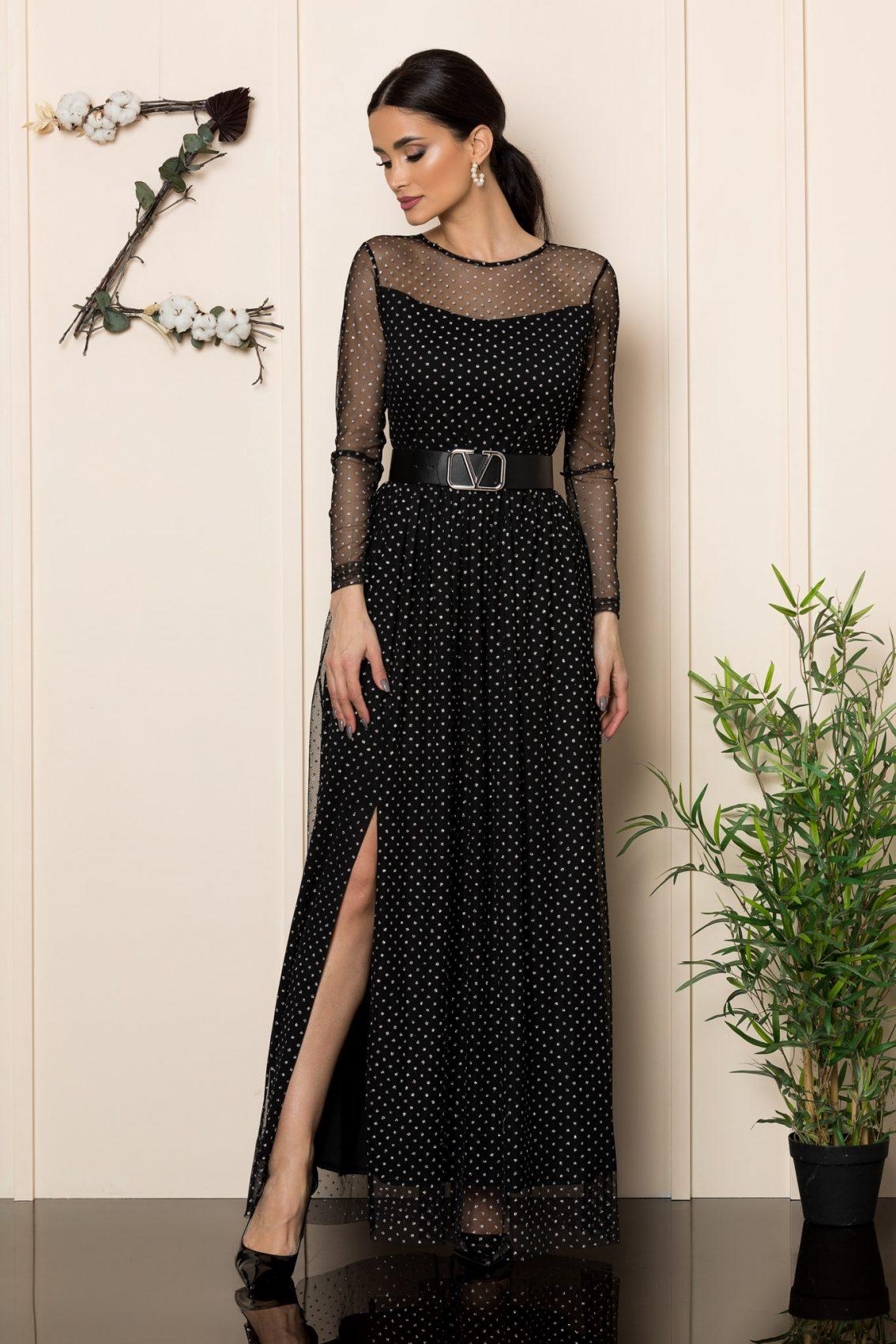 Μαύρο Μάξι Αμπιγιέ Φόρεμα Yanna 1101 3