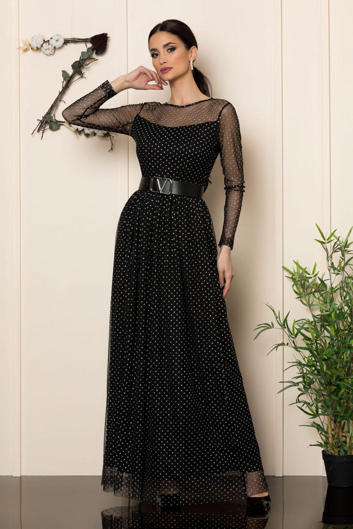 Μαύρο Μάξι Αμπιγιέ Φόρεμα Yanna 1101 1