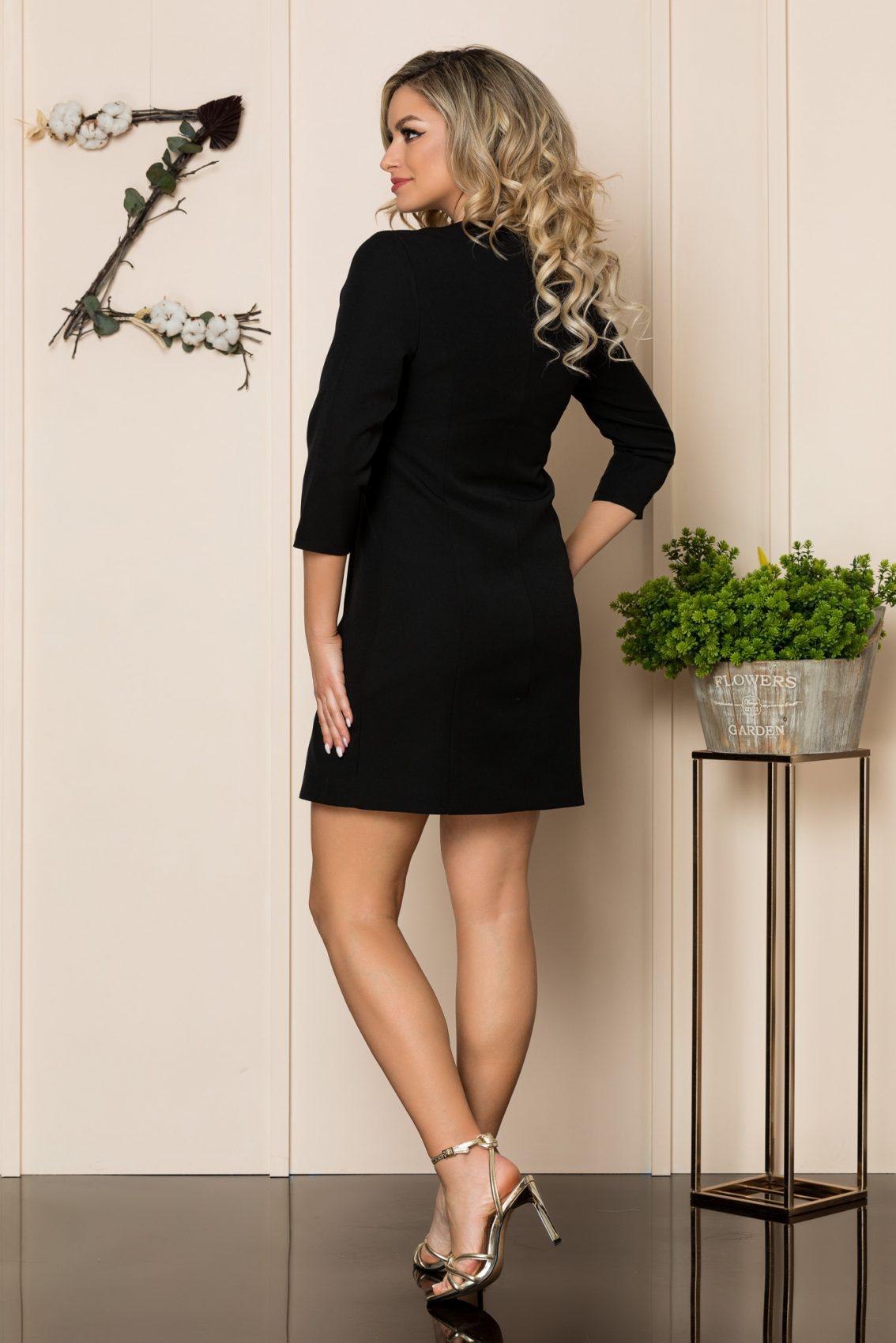 Μαύρο Φόρεμα Με Στράς Κουμπιά Savanna 1044 2