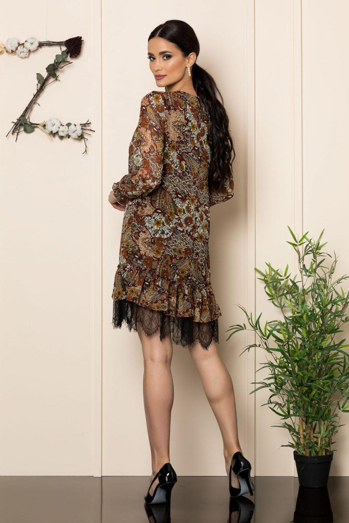 Εμπριμέ Φόρεμα Με Δαντέλα Tracey A186 2