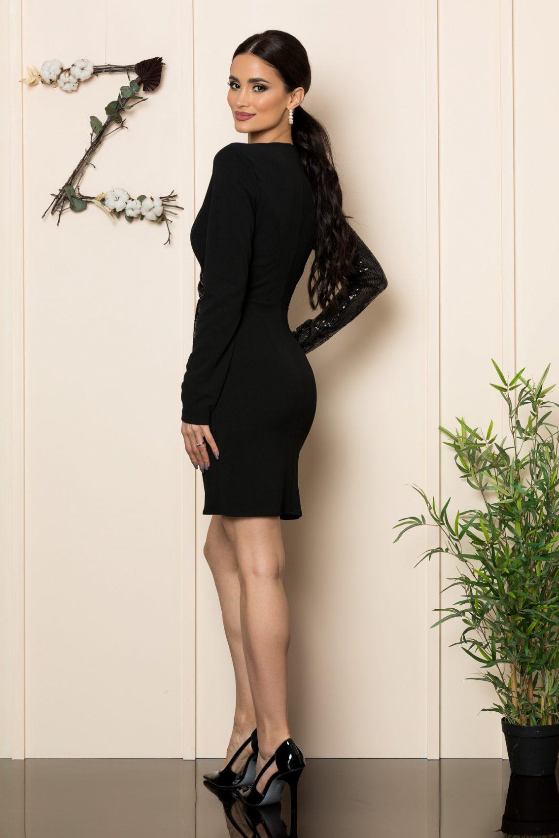 Μαύρο Μακρυμάνικο Κρουαζέ Φόρεμα Nadine 1114 2