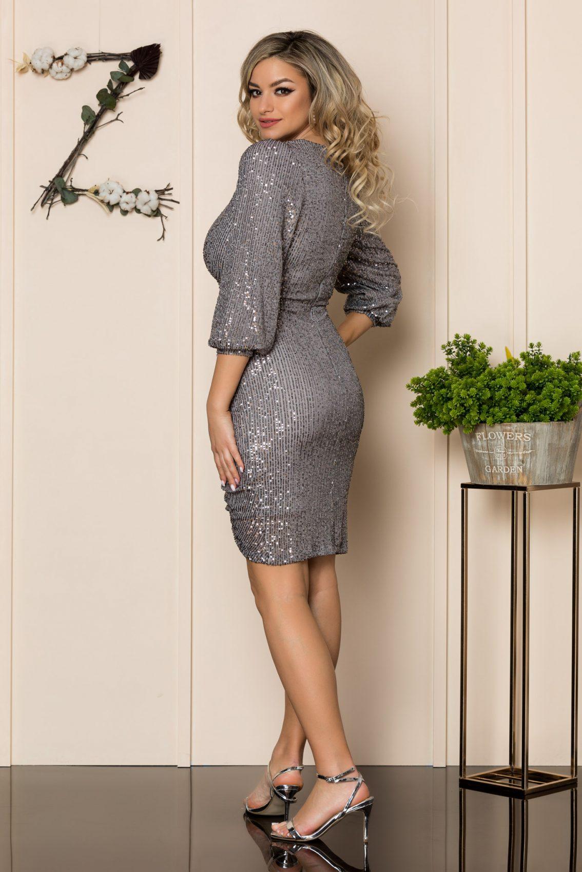 Ασημί Αμπιγιέ Φόρεμα Alanya 1039 2